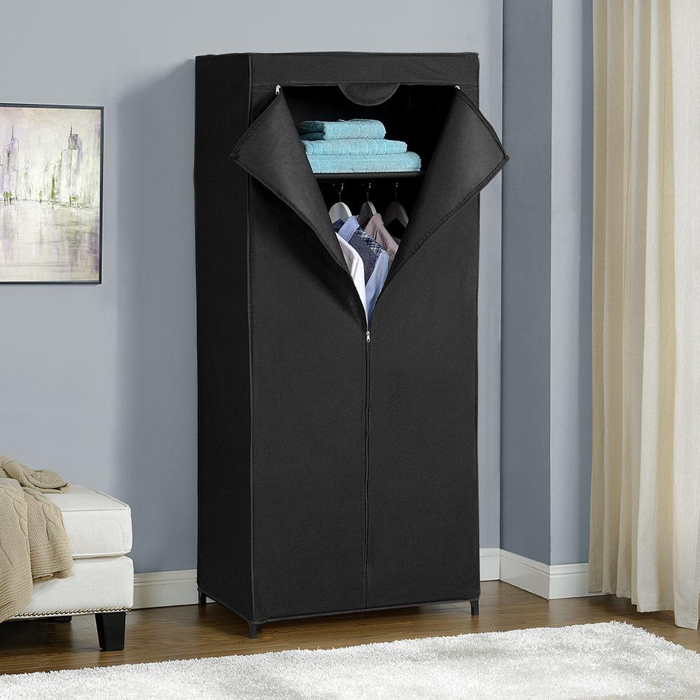 Neu holz kleiderschrank stoff falt schrank wohnzimmer for Garderobe schwarz