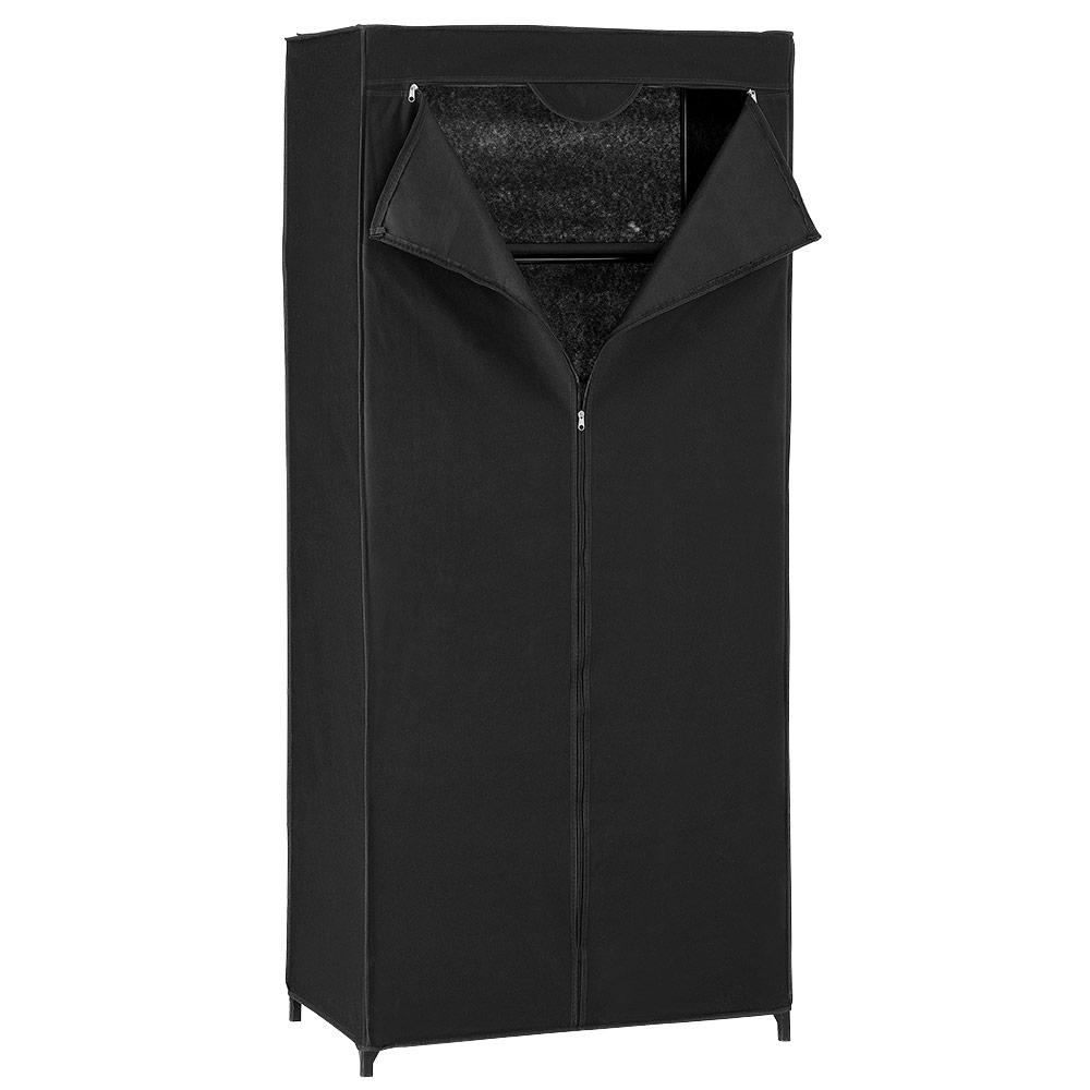 [neu.holz]® Šatní látková skříň - černá - 160 x 70 x 45 cm