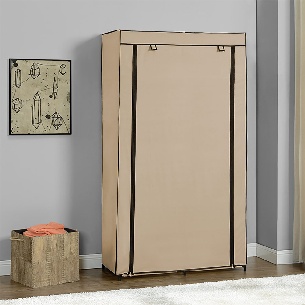 neu holz kleiderschrank 162x90cm beige stoff falt schrank. Black Bedroom Furniture Sets. Home Design Ideas