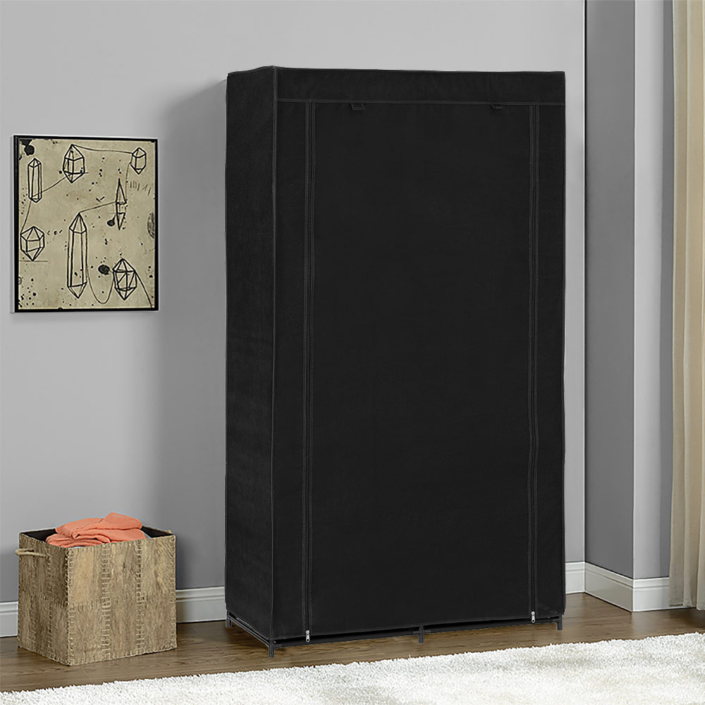 neu holz kleiderschrank 162x90 schwarz stoff falt schrank. Black Bedroom Furniture Sets. Home Design Ideas