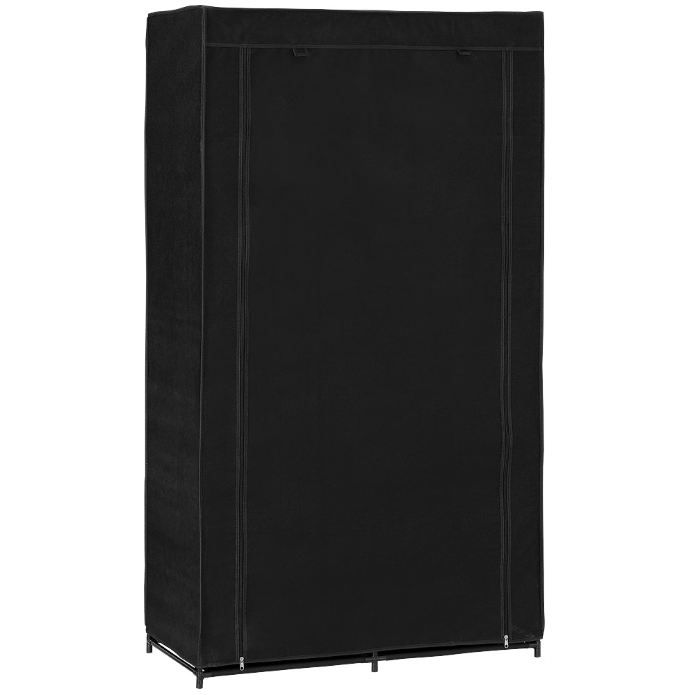 Neu holz kleiderschrank 162x90 schwarz stoff falt schrank for Garderobe holz