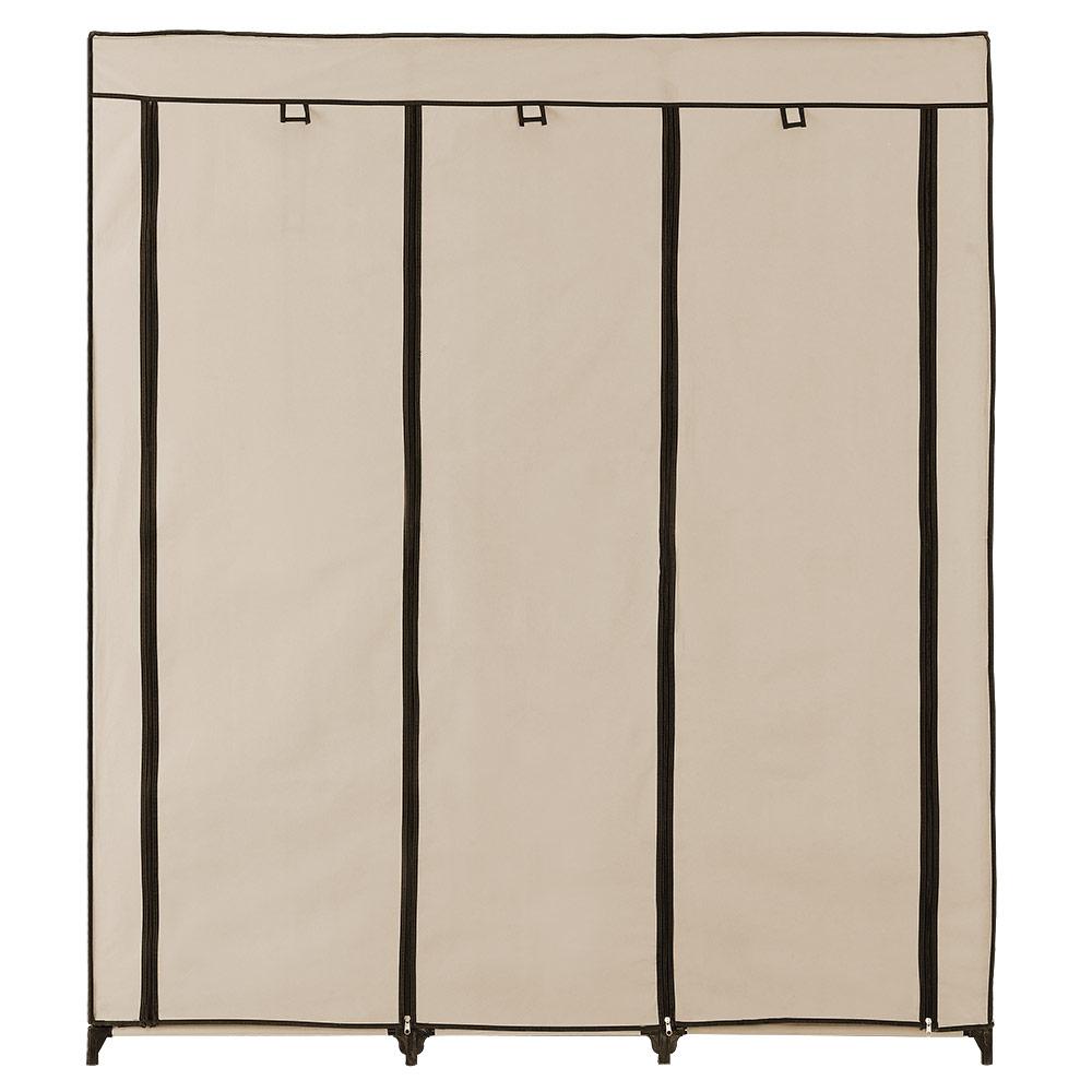neu holz kleiderschrank 175x150 beige stoff falt schrank wohnzimmer garderobe ebay. Black Bedroom Furniture Sets. Home Design Ideas