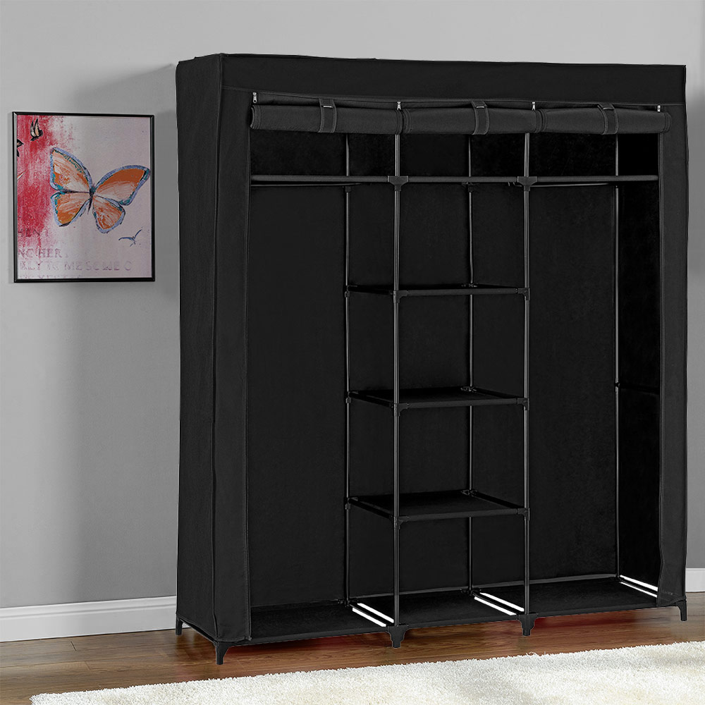 neu holz kleiderschrank 175x150 schwarz stoff falt. Black Bedroom Furniture Sets. Home Design Ideas