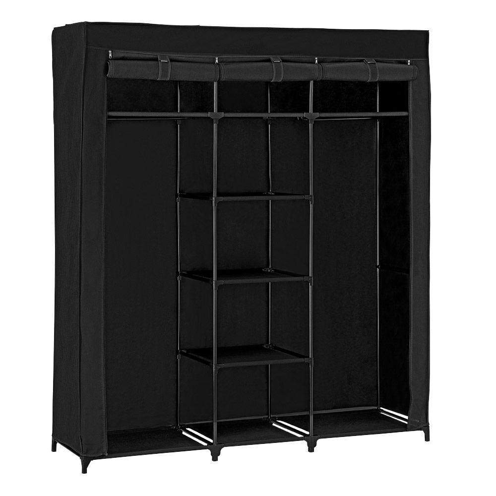 neu holz kleiderschrank 175x150 schwarz stoff falt schrank wohnzimmer garderobe ebay. Black Bedroom Furniture Sets. Home Design Ideas