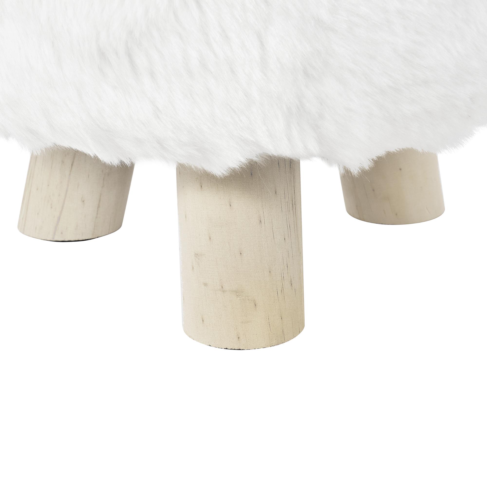 hocker wei kunstfell polsterhocker sitzhocker. Black Bedroom Furniture Sets. Home Design Ideas