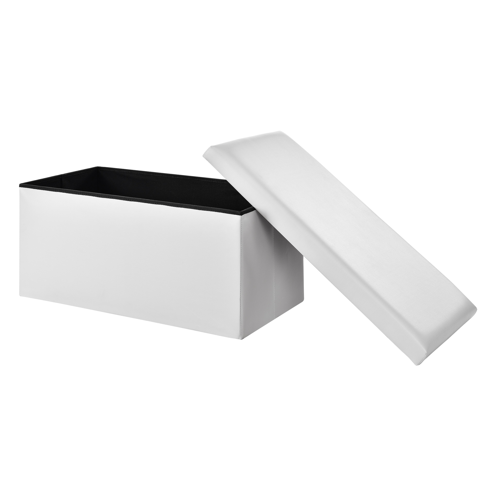 [en.casa]® Skládací taburet - koženka - bílý - 76 x 38 x 38 cm