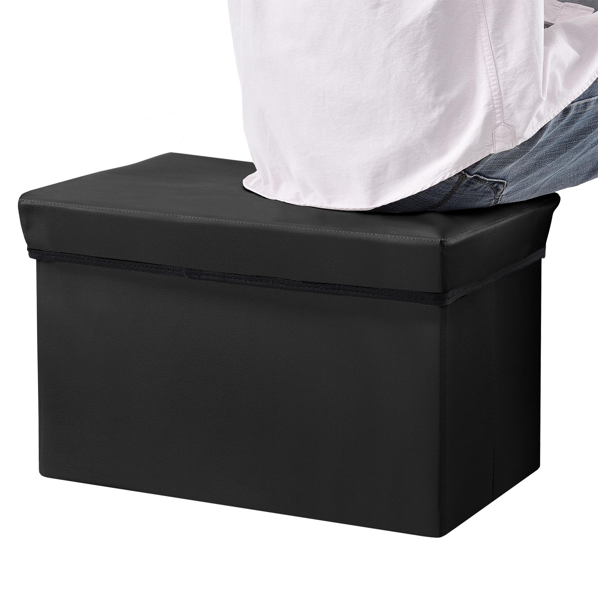 sitzhocker schwarz 48x31x31cm sitz bank aufbewahrungsbox truhe hocker ebay. Black Bedroom Furniture Sets. Home Design Ideas