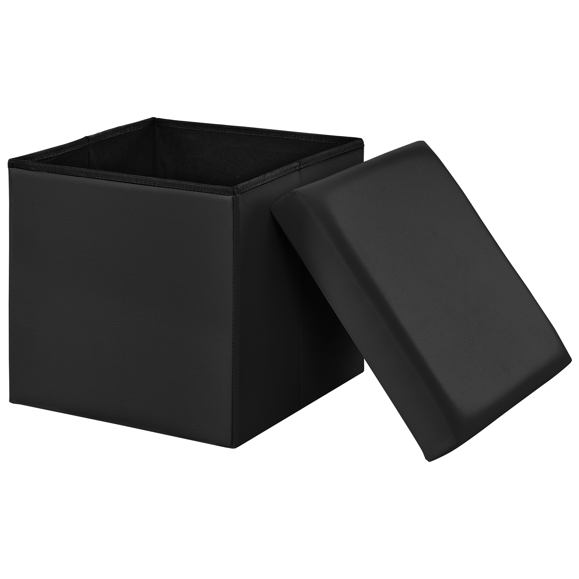 [en.casa]® Skládací taburet - koženka - černý - 38 x 38 x 38 cm