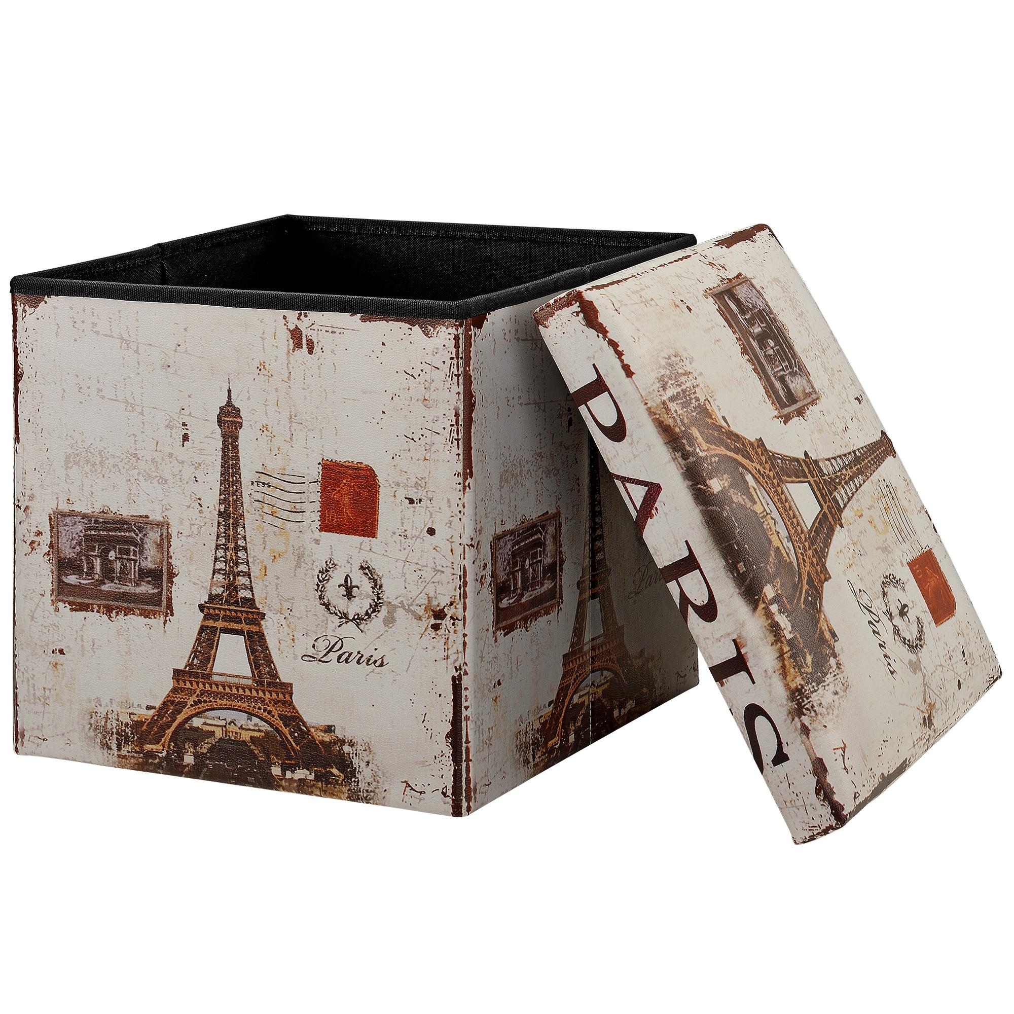 [en.casa]® Skládací taburet - s úložným prostorem - Paris - 38 x 38 x 38 cm