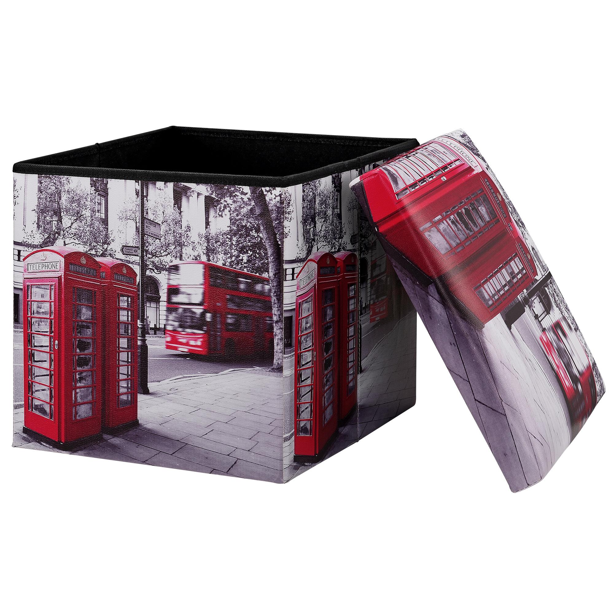 [en.casa]® Skládací taburet - s úložným prostorem - London - 38 x 38 x 38 cm