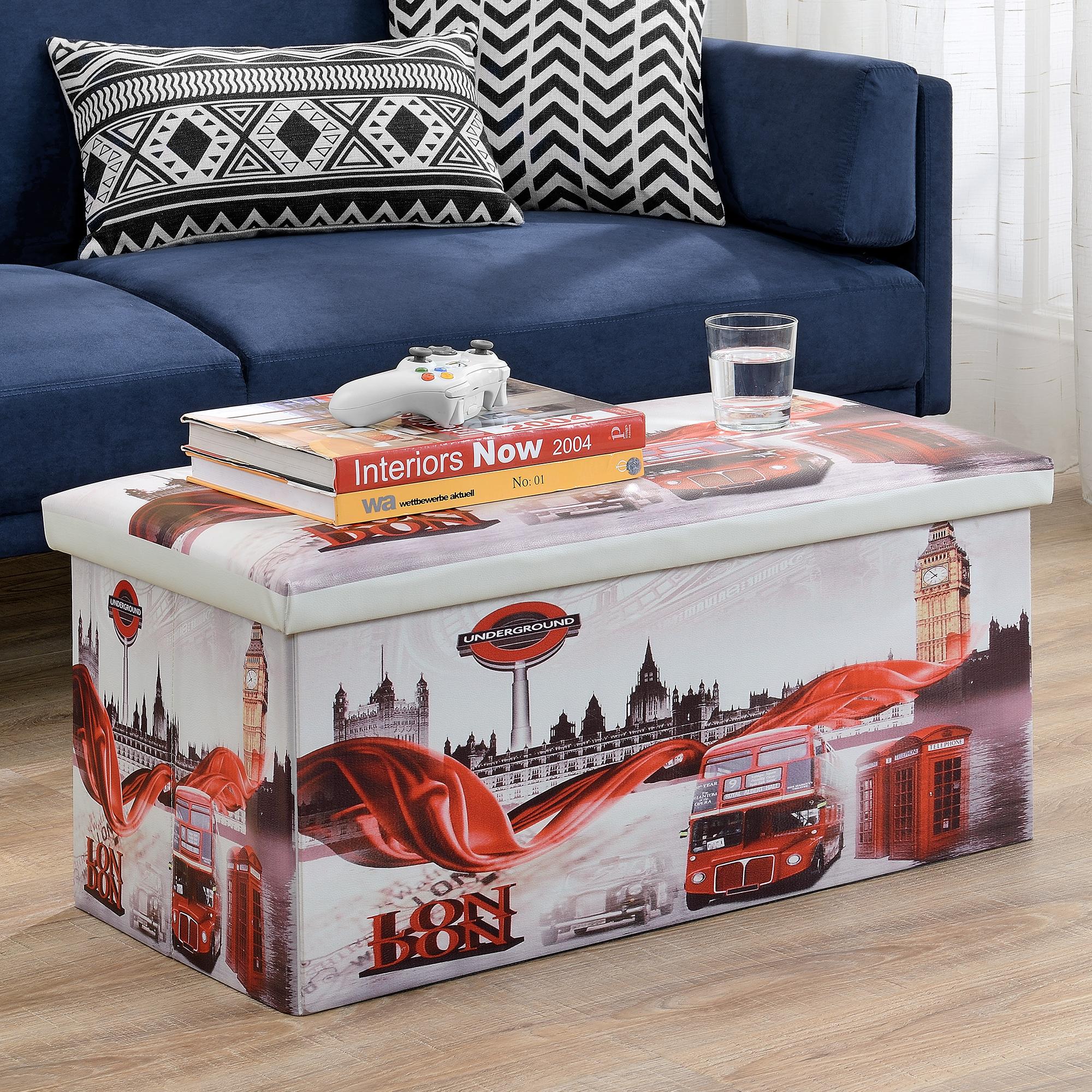 sitzhocker london 76x38x38cm sitz bank aufbewahrungsbox truhe hocker ebay. Black Bedroom Furniture Sets. Home Design Ideas