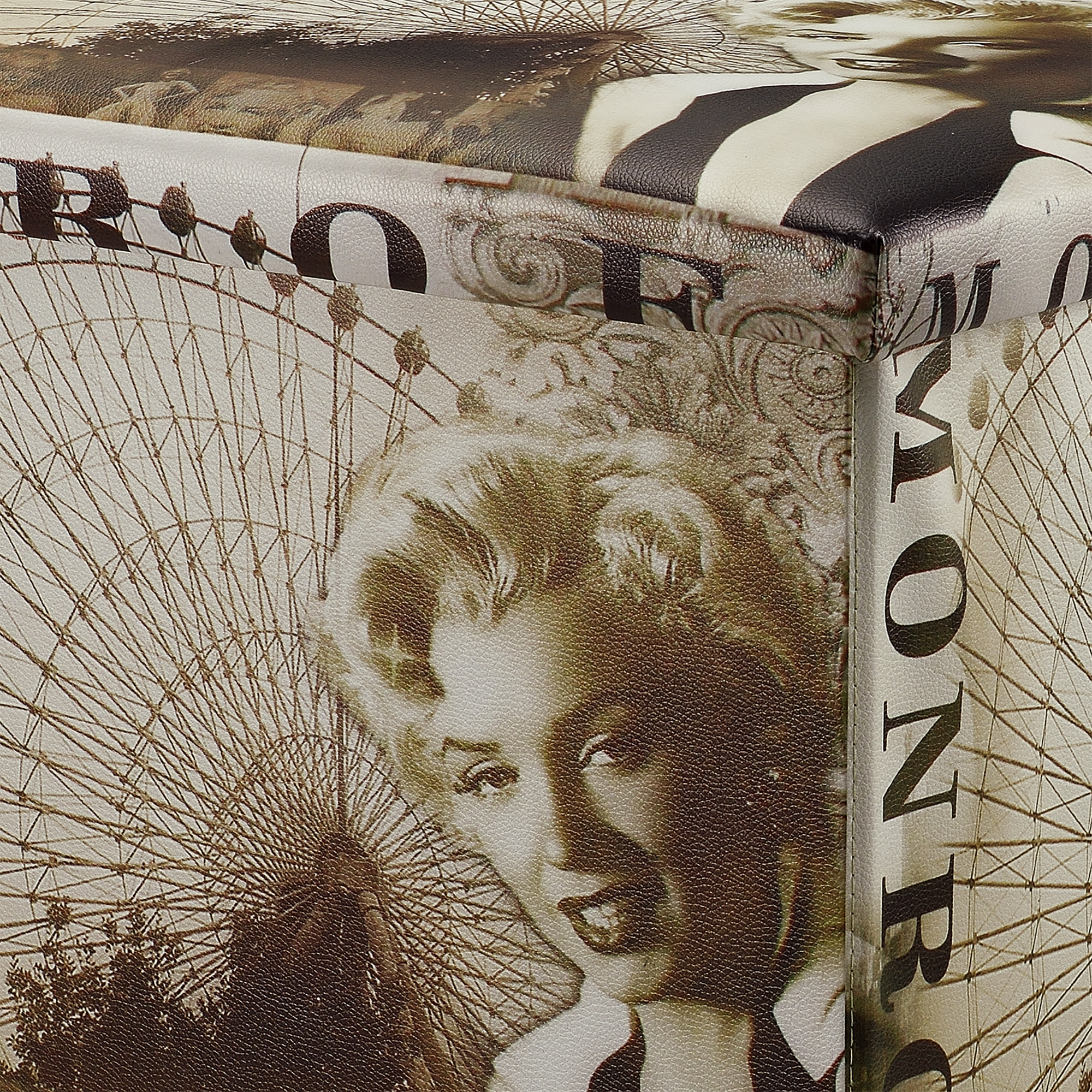 """casa ® banc /""""MARILYN MONROE/"""" 76x38x38cm Siège Tabouret Boîte De Rangement Coffre En"""