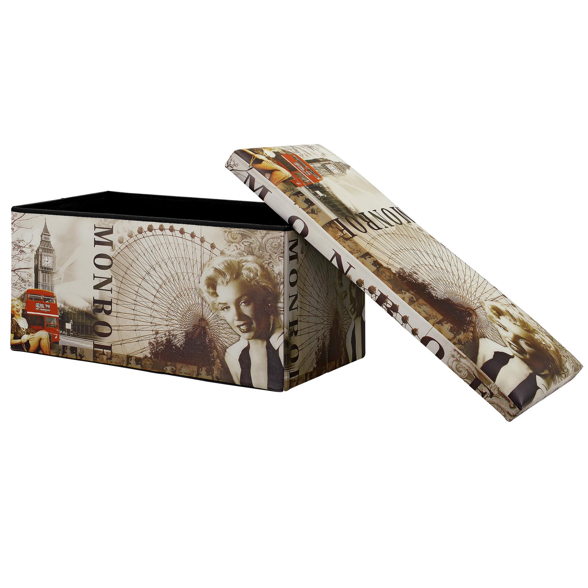 [en.casa]® Skládací taburet - s úložným prostorem - Marilyn Monroe - 76 x 38 x 38 cm
