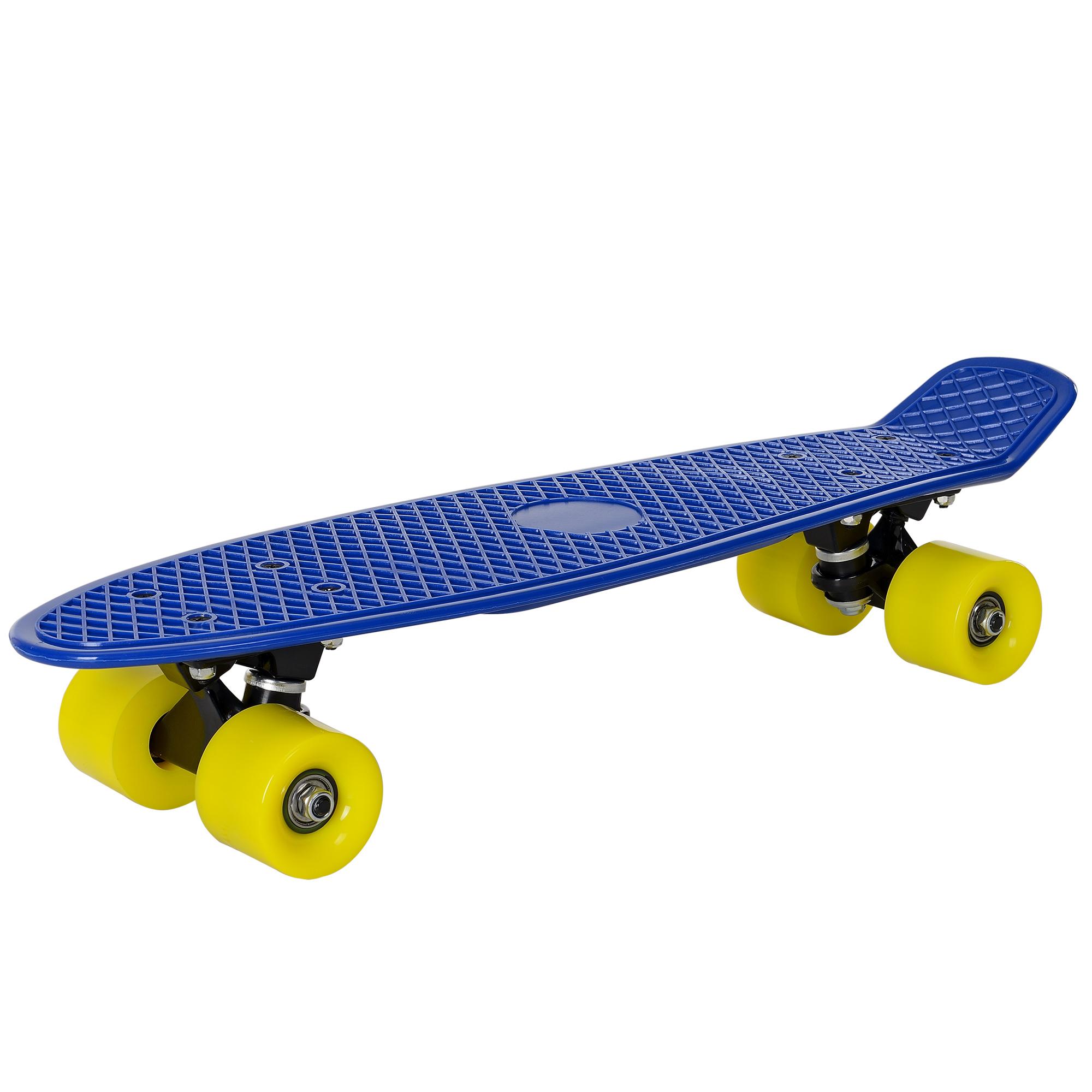 [pro.tec]® Retro Skateboard mini - penny board ABEC 7 - modrá se žlutými válečky