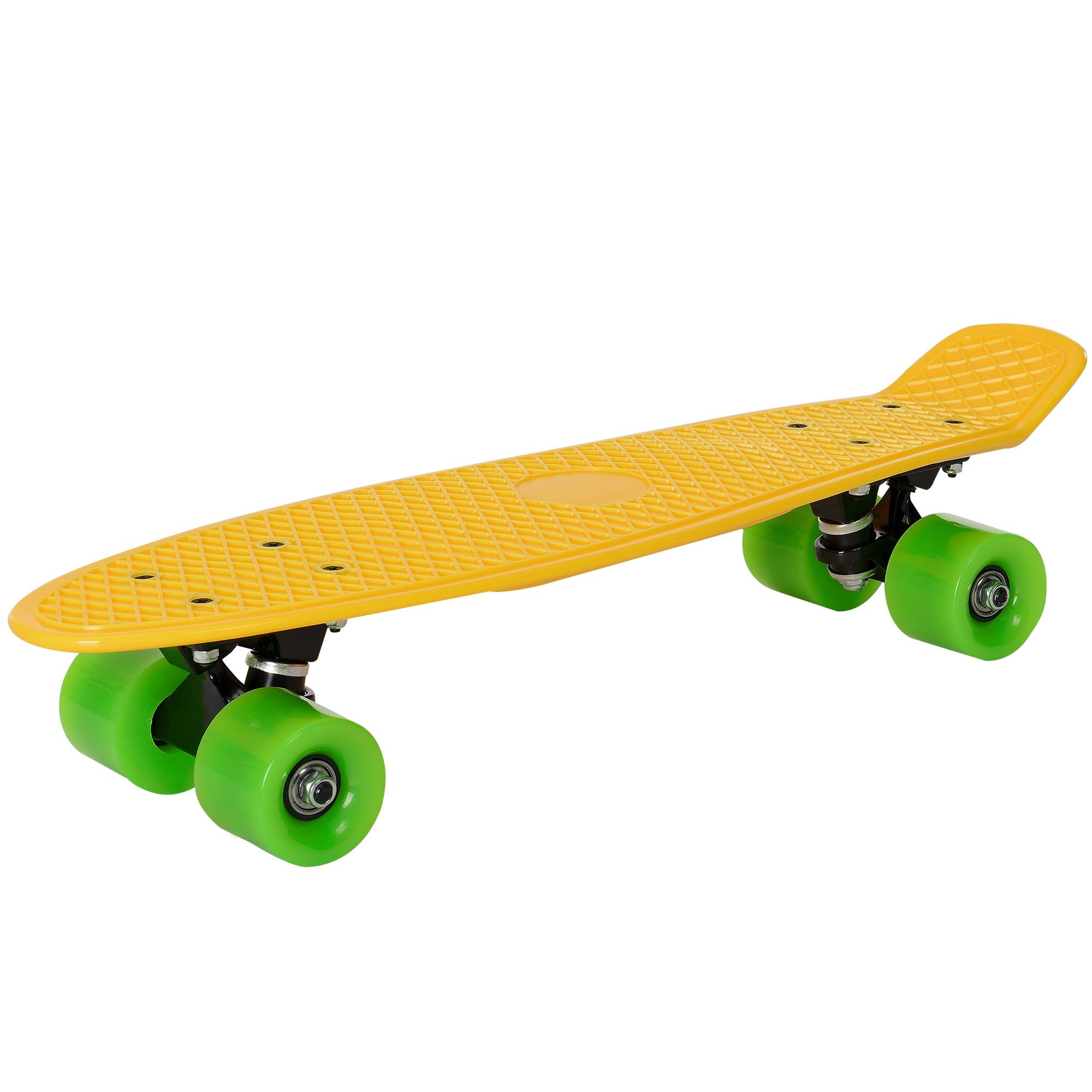 [pro.tec]® Retro Skateboard mini - penny board ABEC 7 - žlutá se zelenými svitků