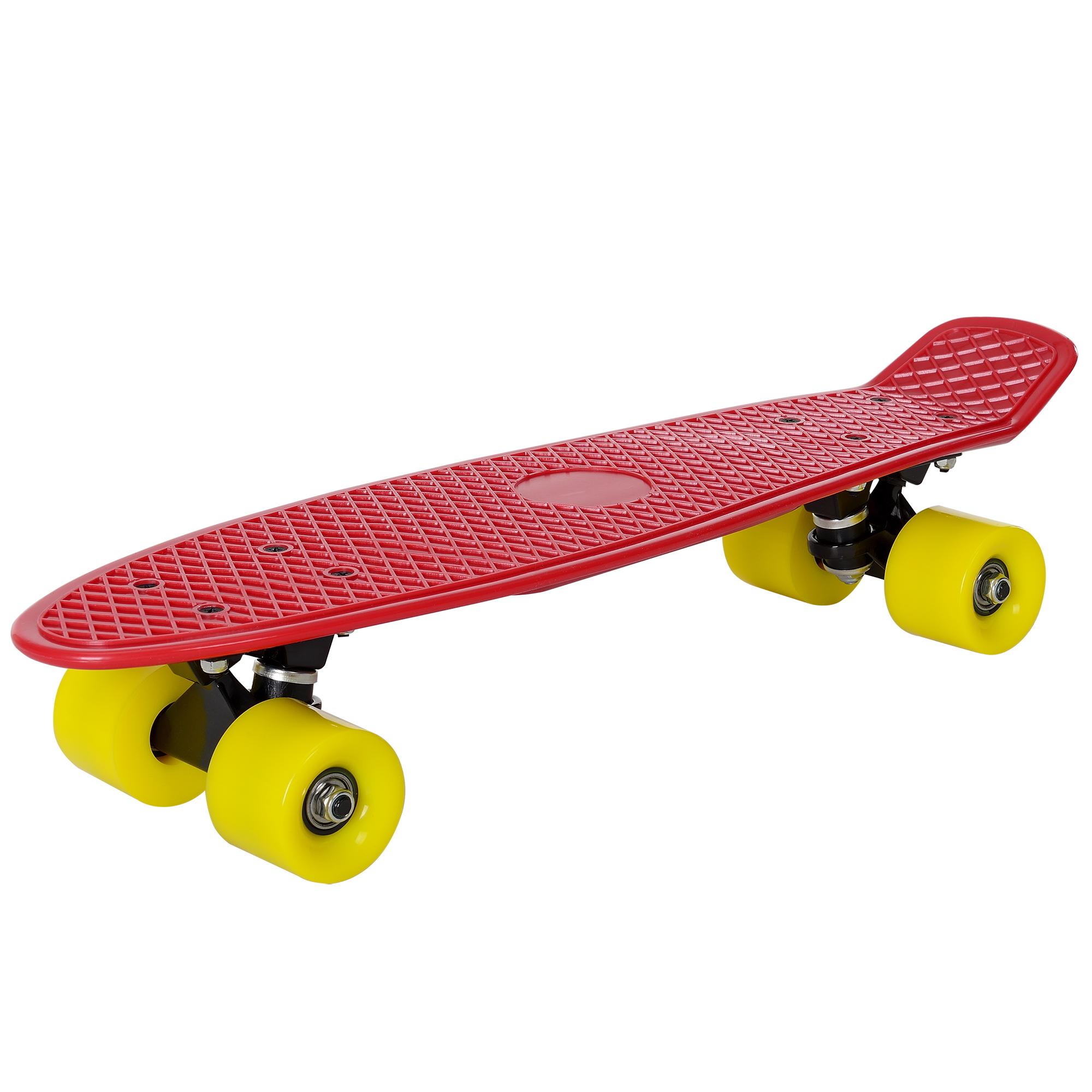 [pro.tec]® Retro Skateboard mini - penny board ABEC 7 - červená se žlutými válečky