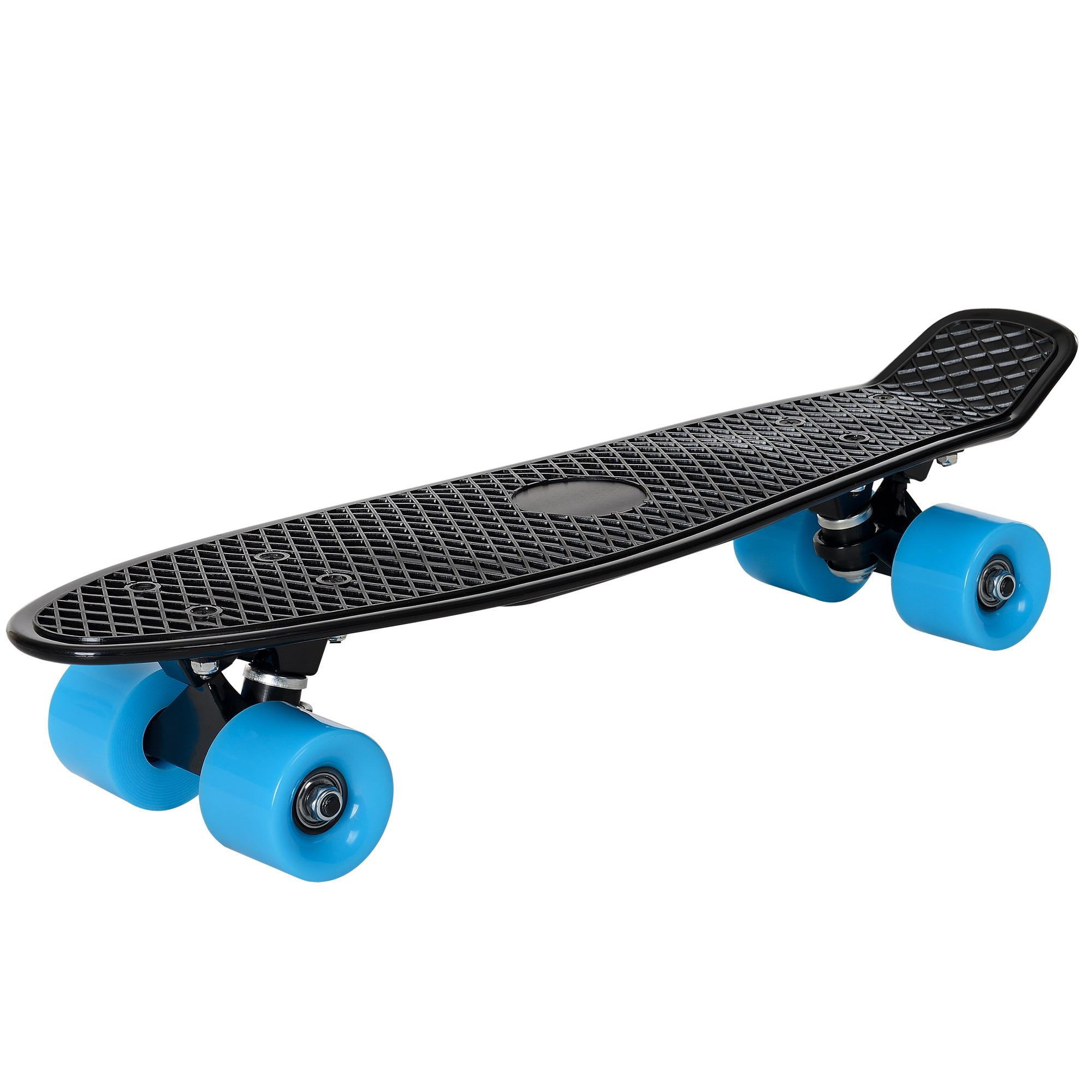 [pro.tec]® Retro Skateboard mini - penny board ABEC 7 - černá s modrými kolečky
