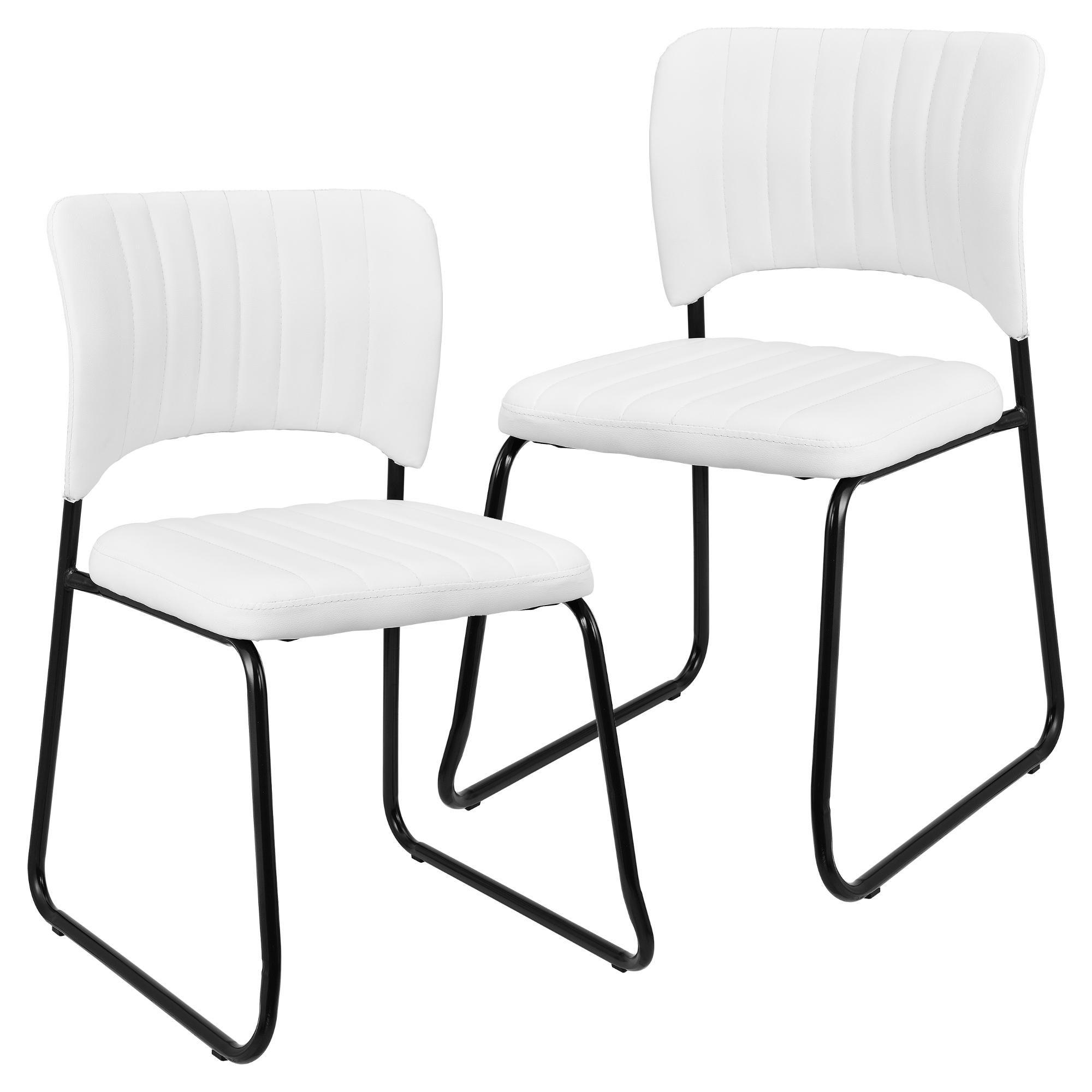 2x design st hle kunstleder wei stuhl lehnstuhl esszimmerstuhl ebay. Black Bedroom Furniture Sets. Home Design Ideas
