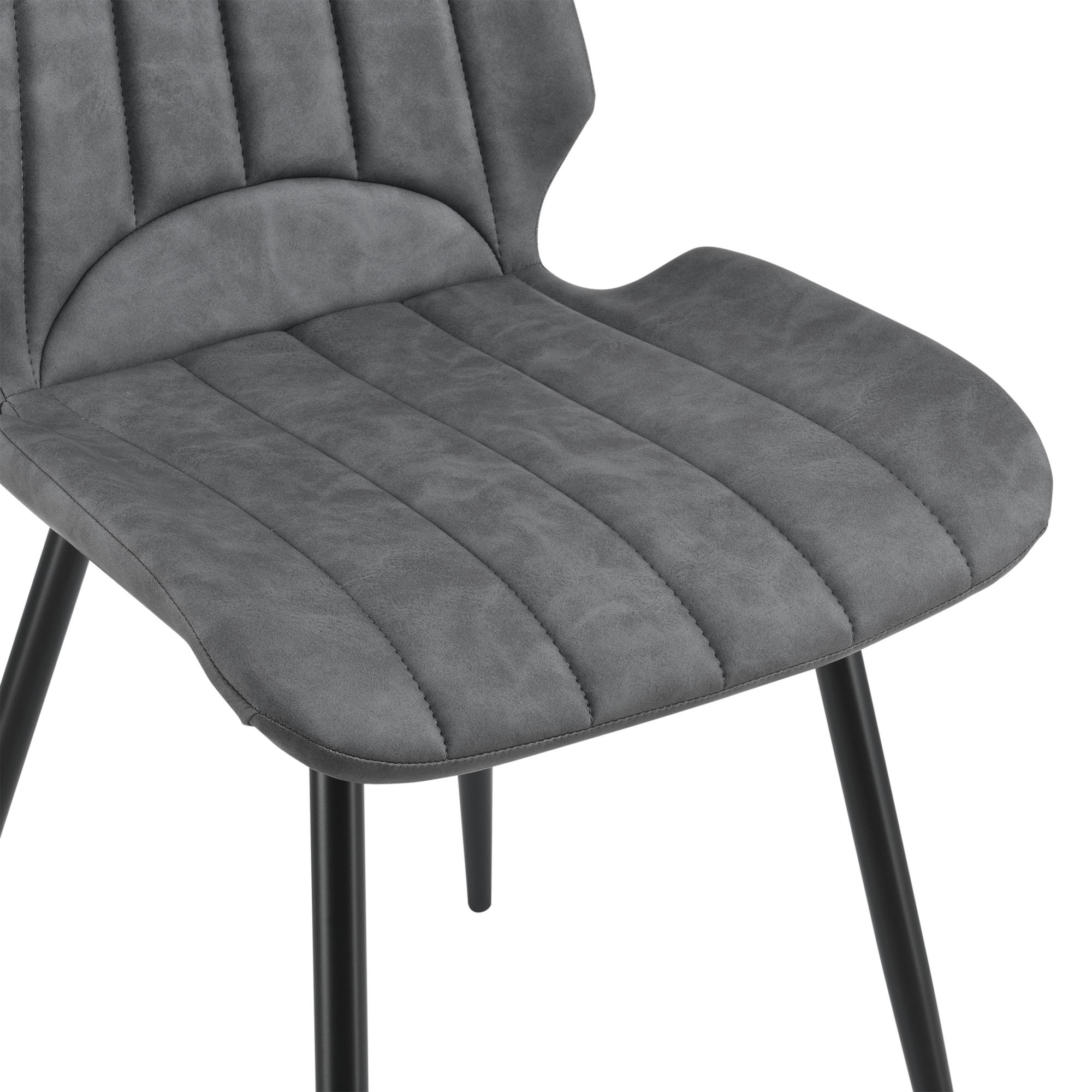 en.casa 4x Stühle Dunkelgrau Lehnstuhl Esszimmer-Stuhl Polsterstuhl Lounge Set