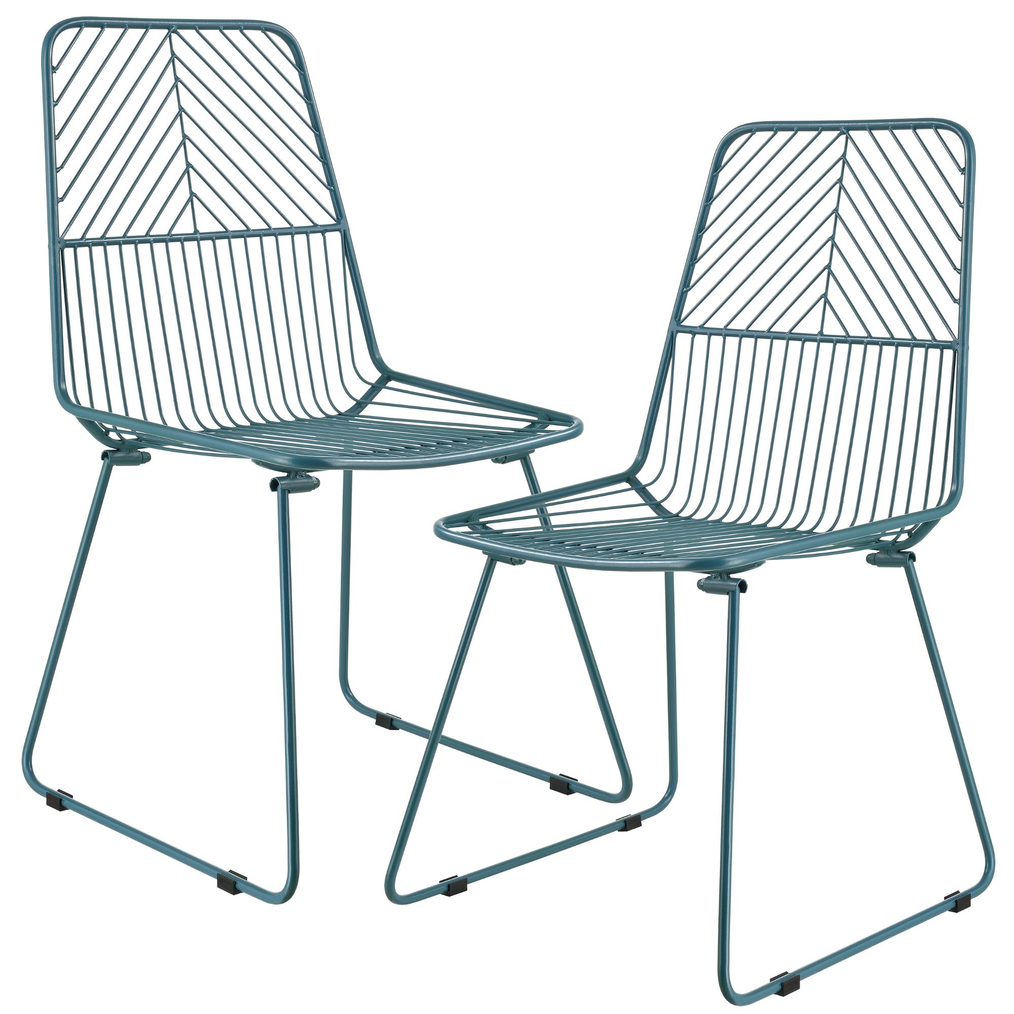 2x design st hle metall stuhl set lehnstuhl for Design stuhl draht
