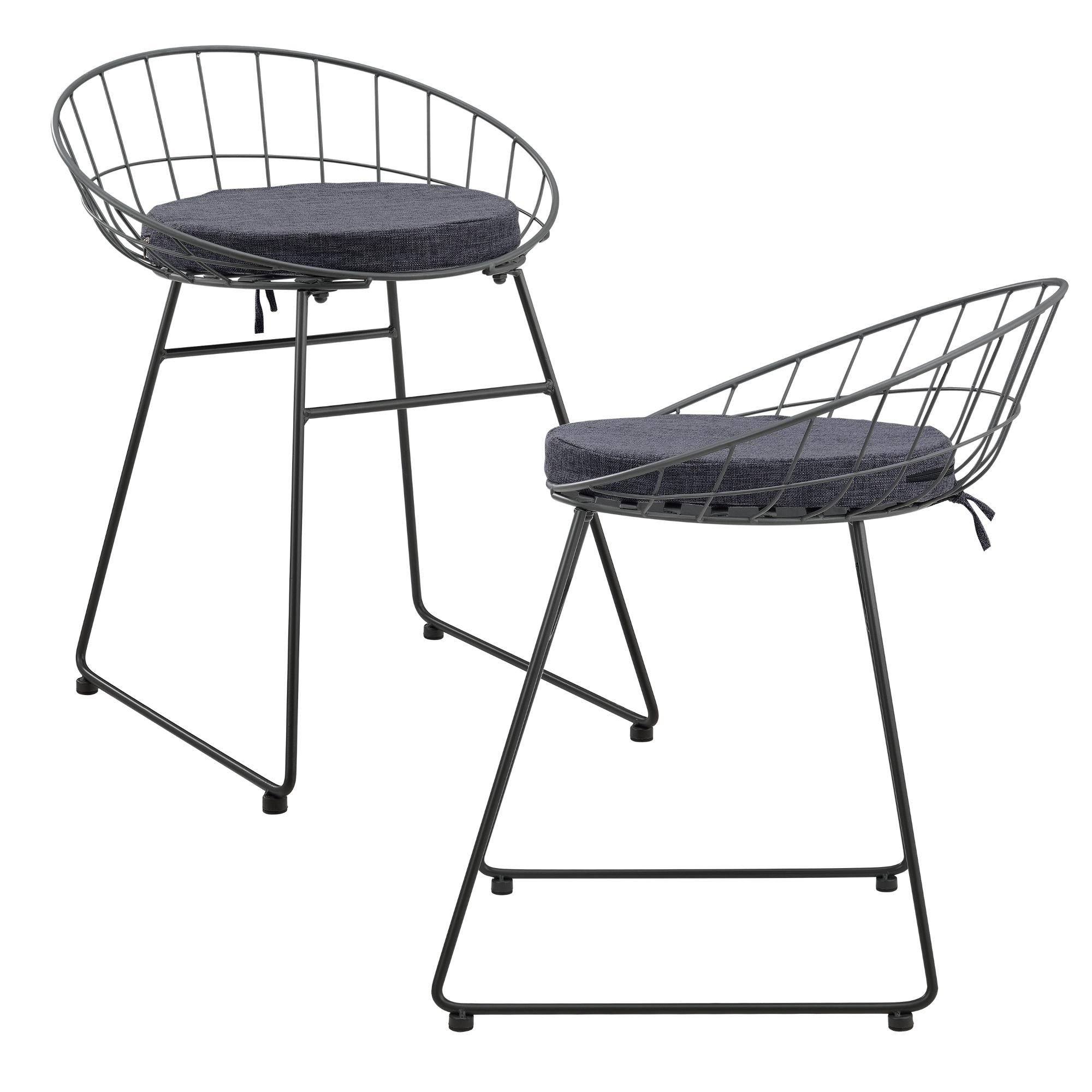 2x design st hle metall stuhl set lehnstuhl for Design stuhl metall