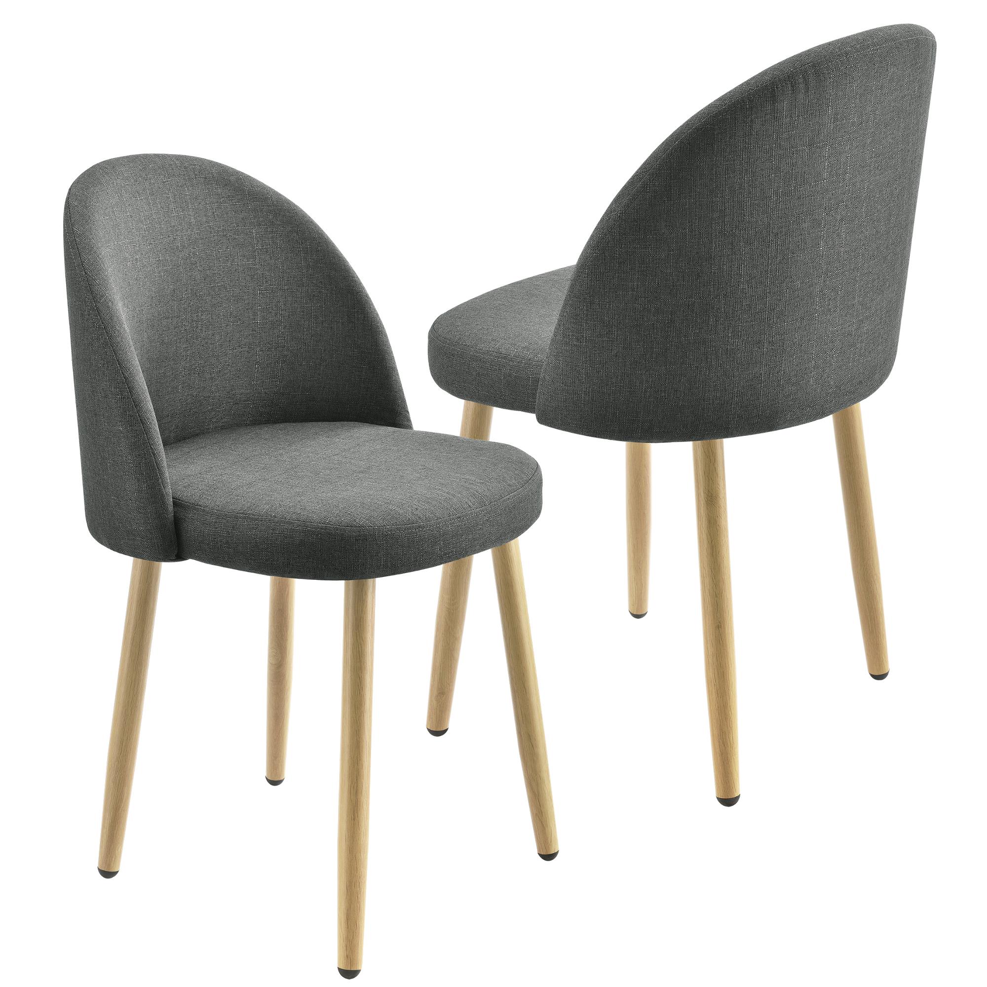 Detalles de en.casa Juego de sillas Comedor 76x44cm Silla en textil Cocina  Set Gris oscuro