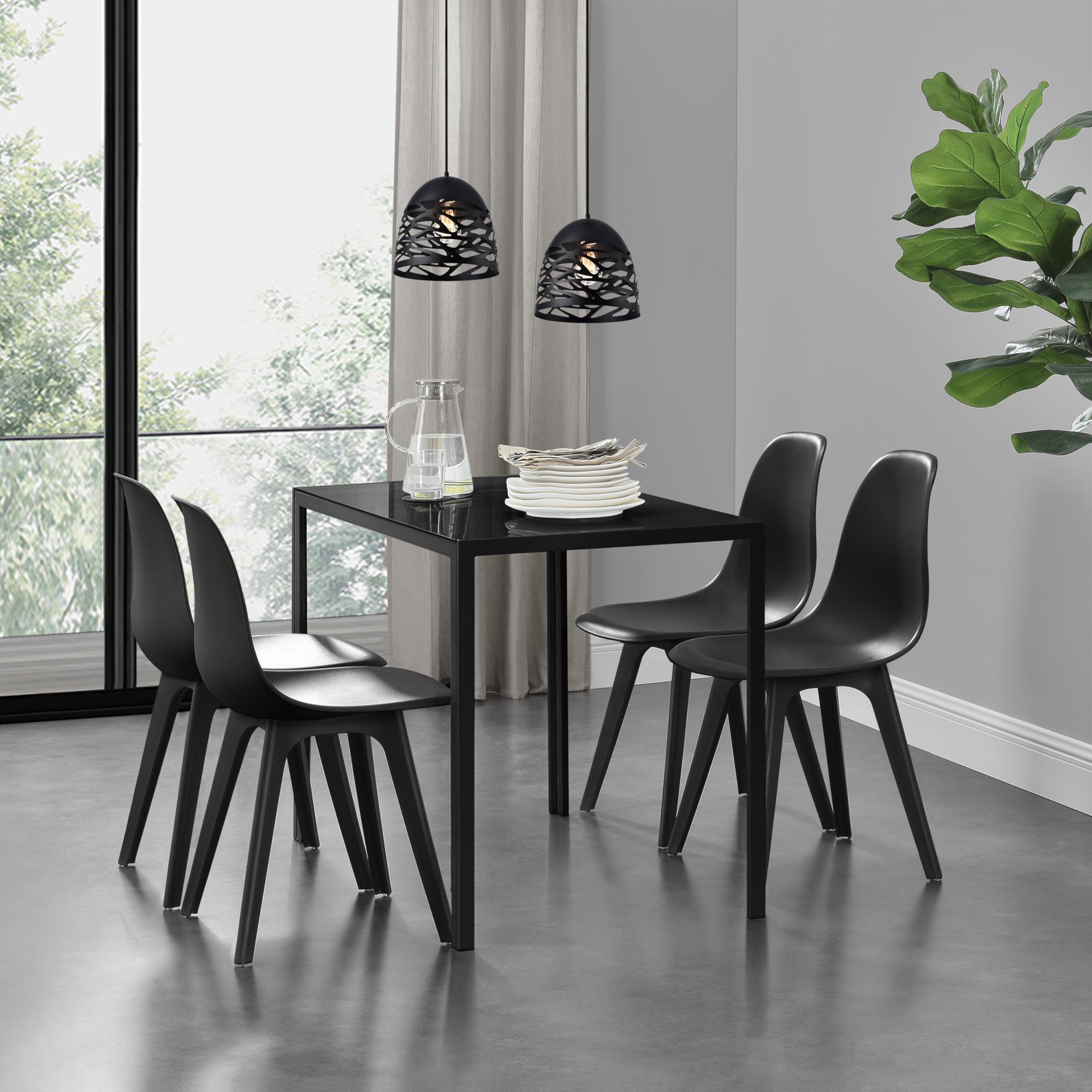Detalles de en.casa Mesa de Comedor + 4 Sillas de Diseño Minimalista para 4  Personas Asiento