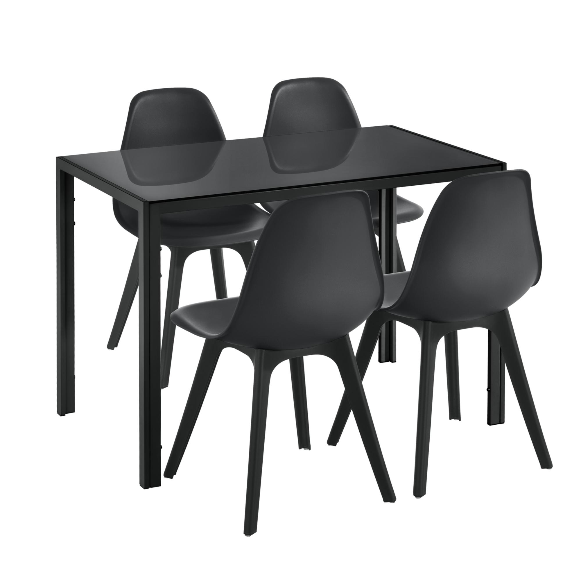 En Casa Set De Table Et 4 Chaises Metal Bois Plastique Verre Noir