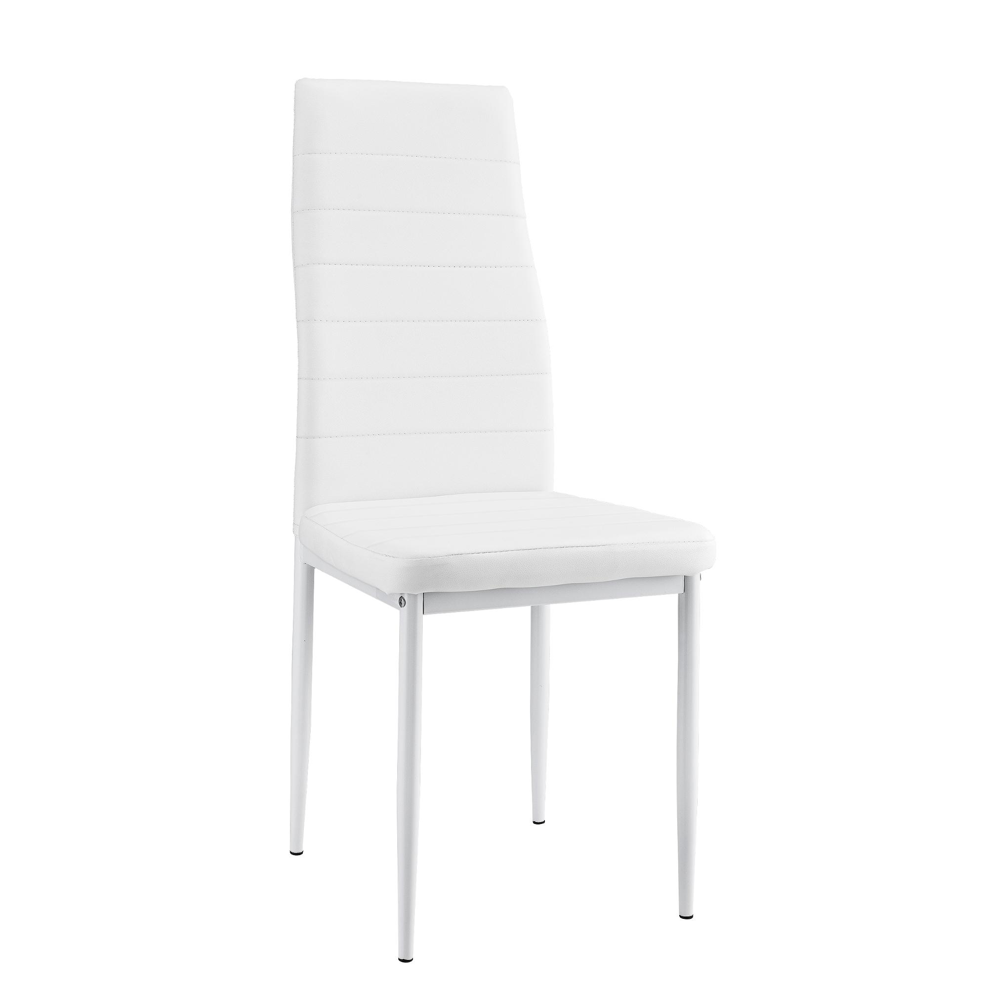 2er set chaises blanc dossier haut salle manger for Chaise salle a manger dossier haut