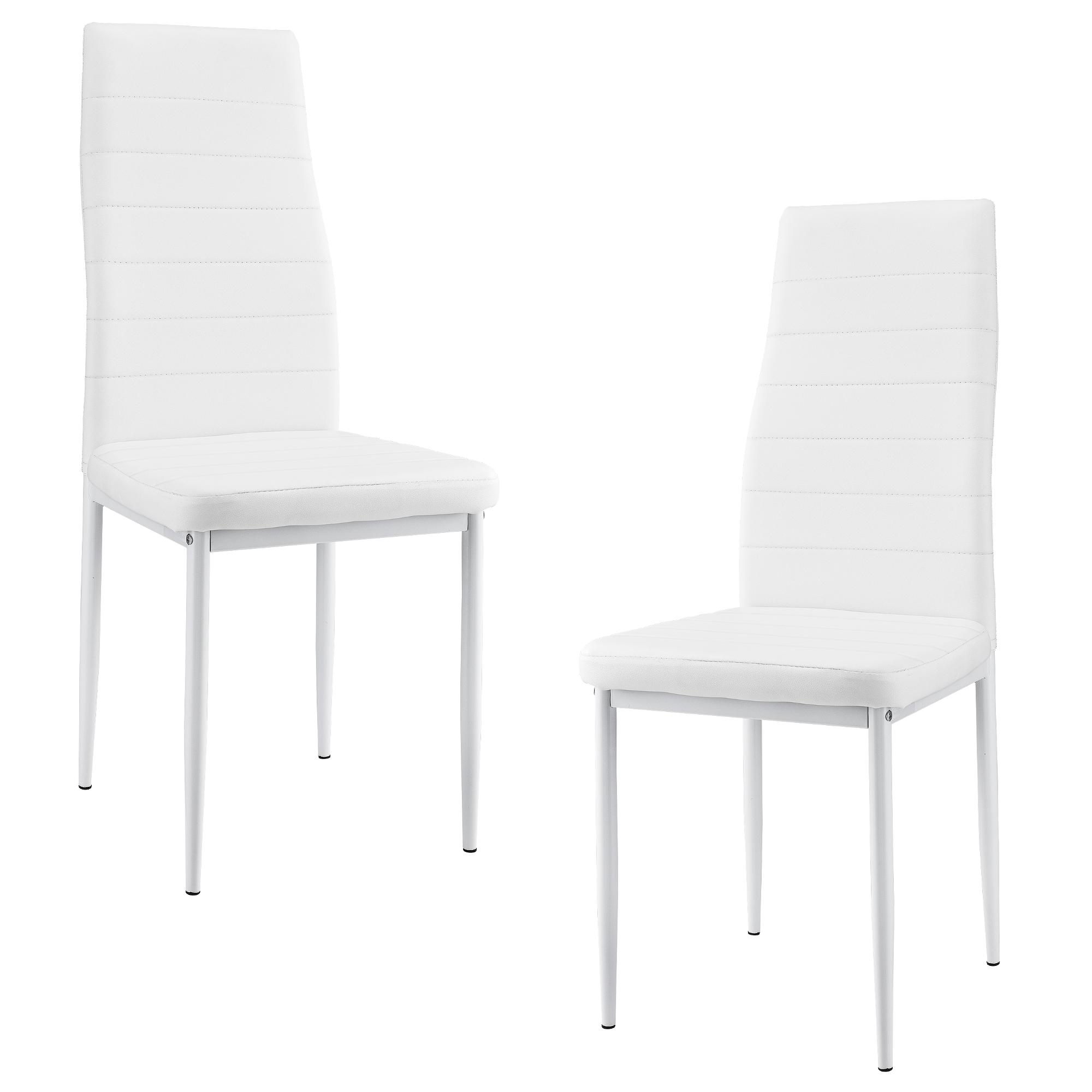 2er set chaises blanc dossier haut salle manger - Chaise haut dossier salle a manger ...