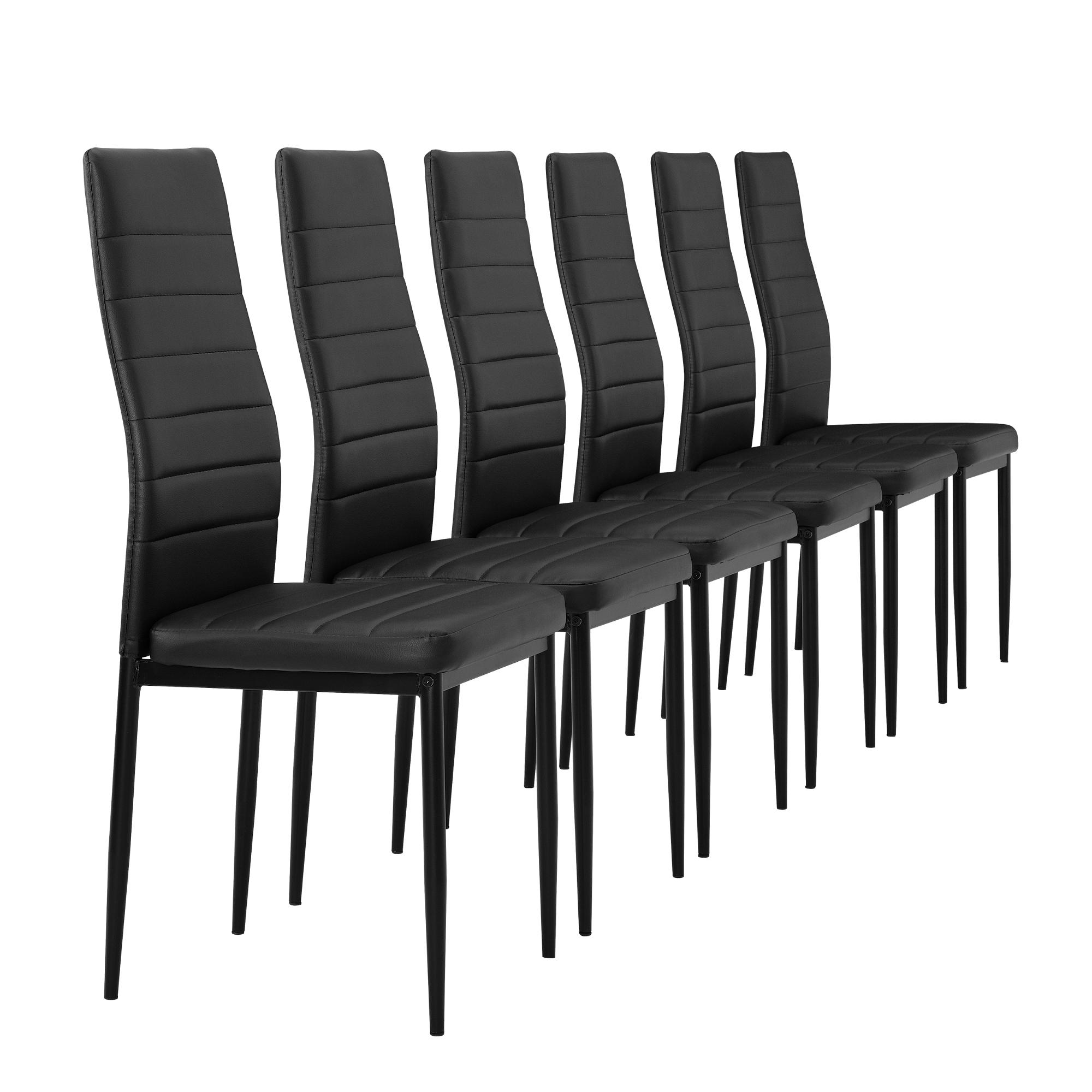 esstisch mit 6 st hlen schwarz 140x60cm. Black Bedroom Furniture Sets. Home Design Ideas