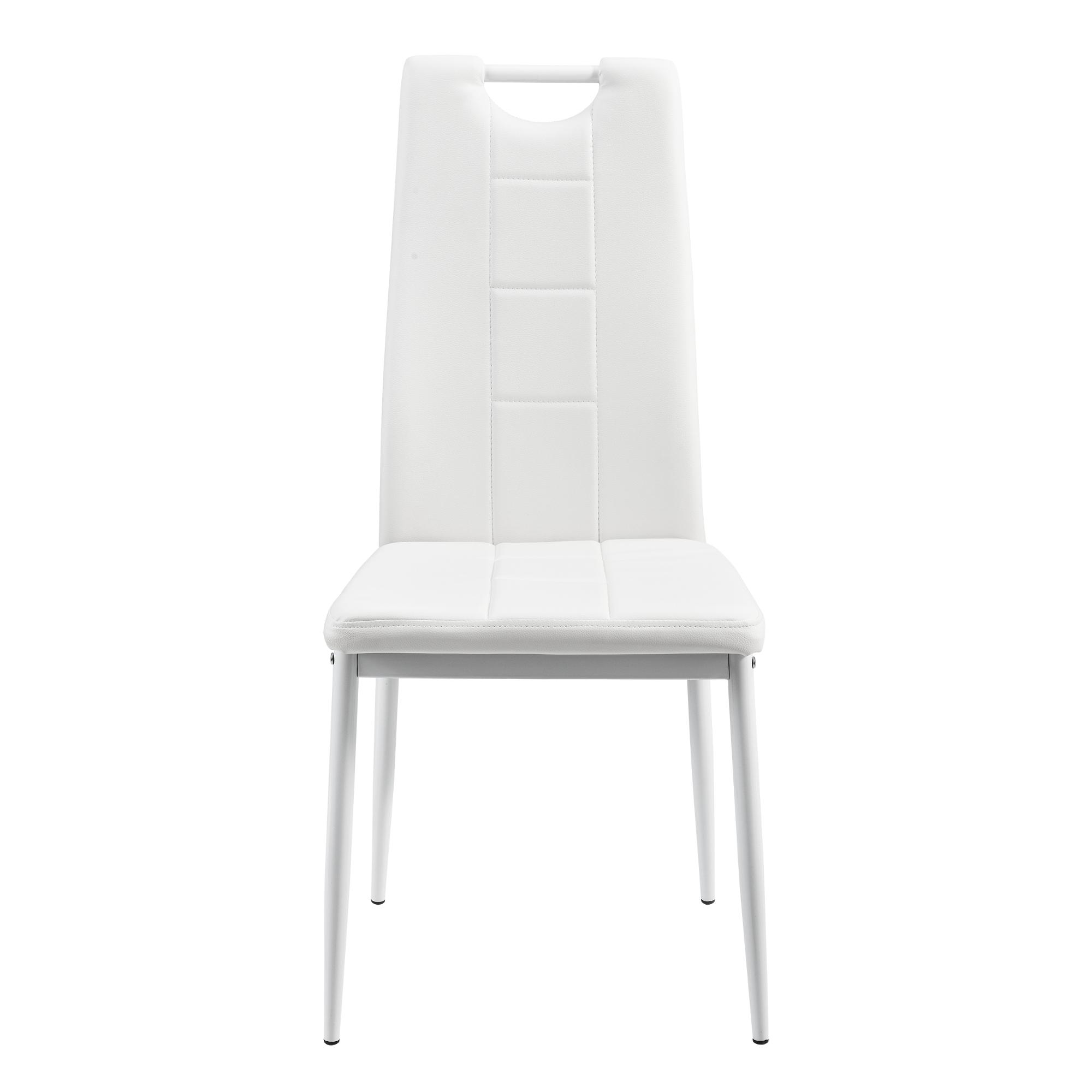 Table de salle manger avec 6 chaises blanc 140x60cm cuisine poign - Table de salle a manger avec 6 chaises ...