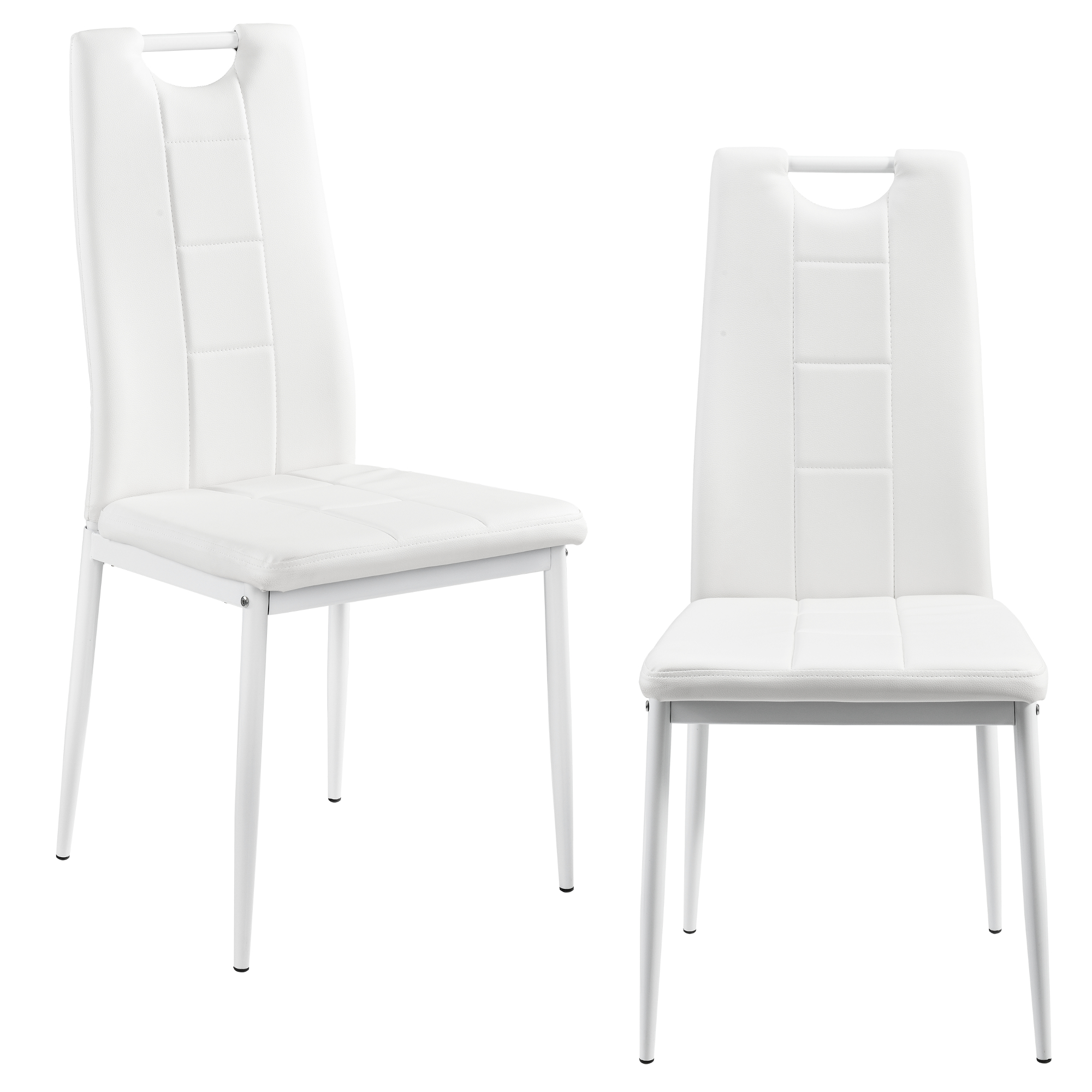 2x design chaises salle manger blanc chaise for Chaise plastique salle a manger