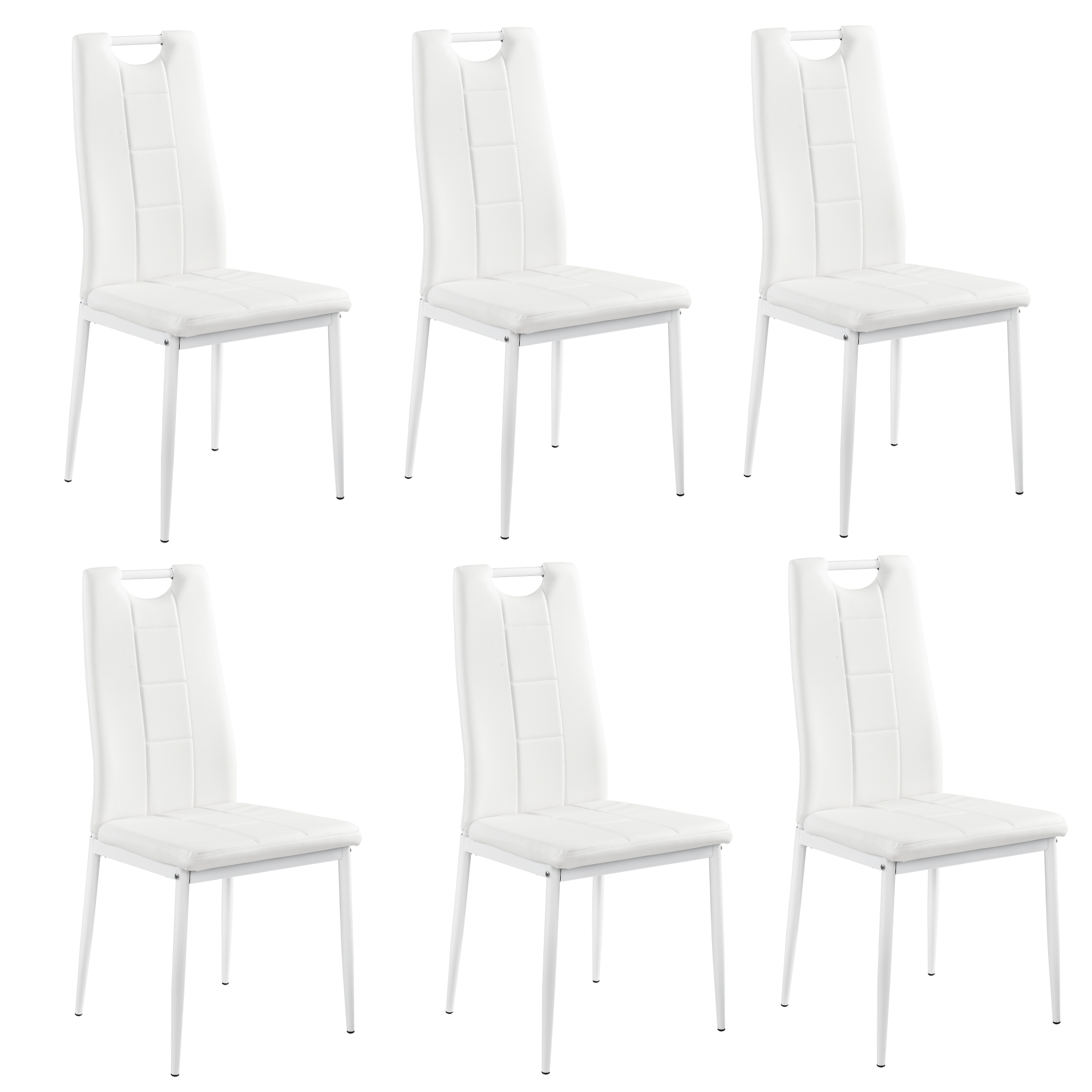 6x chaises blanc dossier haut salle manger similicuir rembourr e ebay. Black Bedroom Furniture Sets. Home Design Ideas