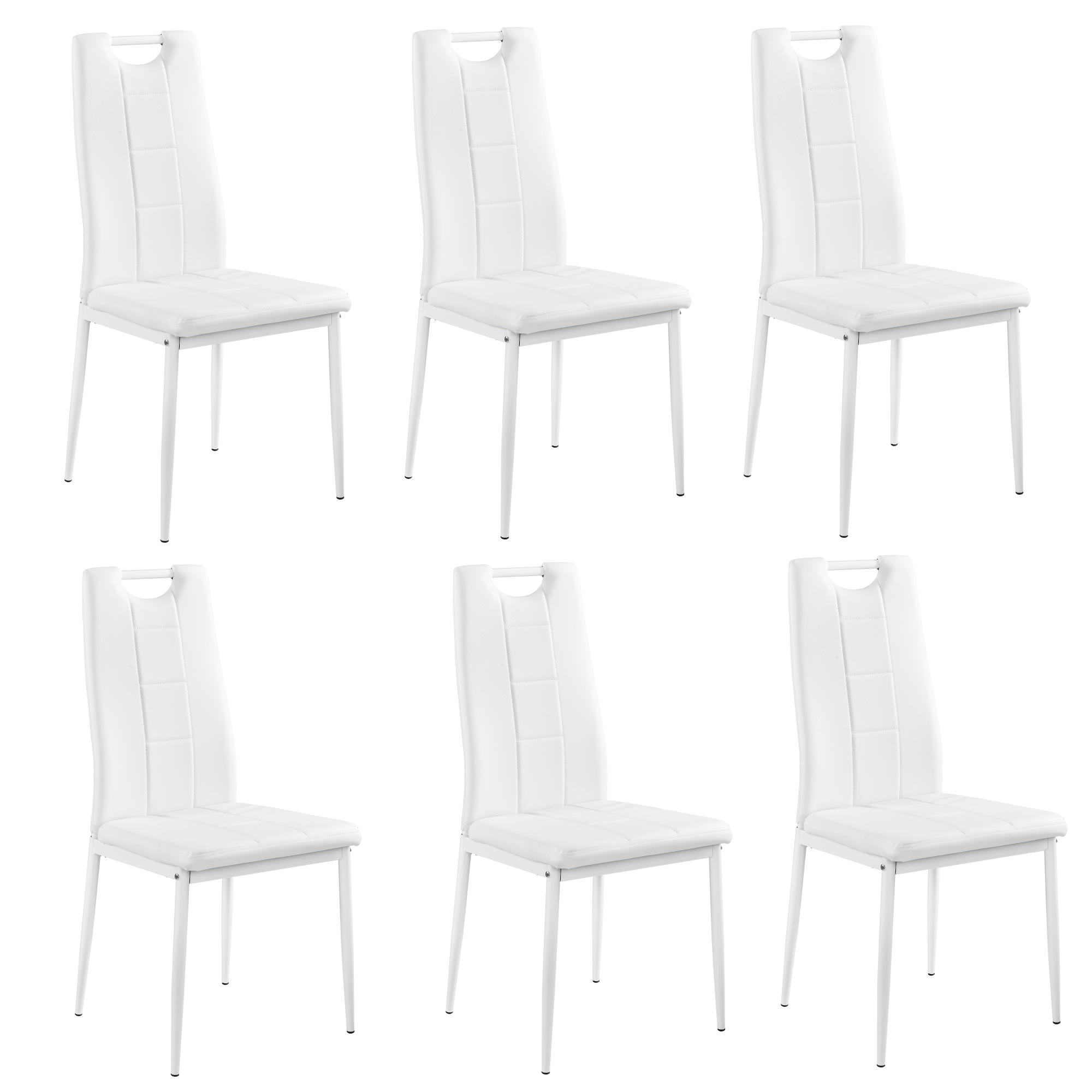 Table de salle manger avec 6 chaises blanc for Table de salle a manger avec 6 chaises