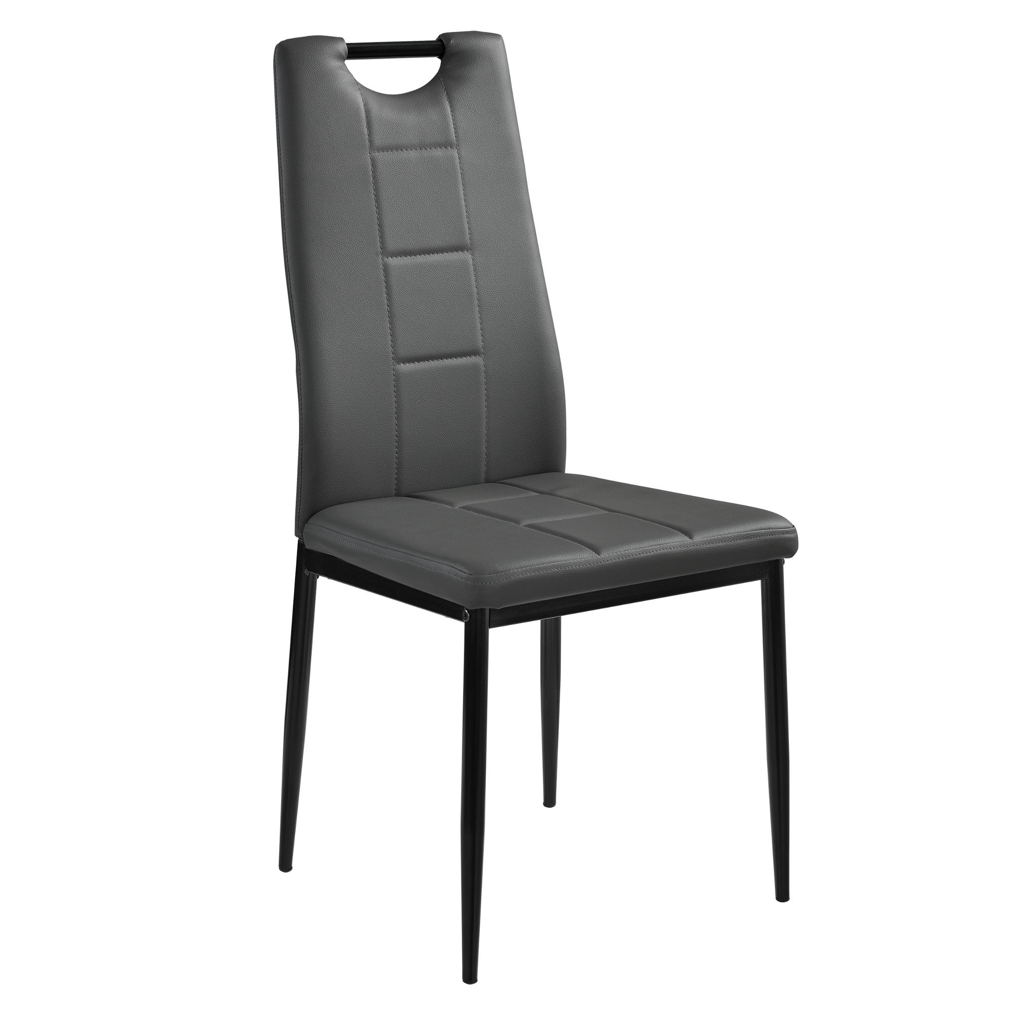 2x st hle grau hochlehner esszimmer kunstleder polsterstuhl mit griff ebay. Black Bedroom Furniture Sets. Home Design Ideas