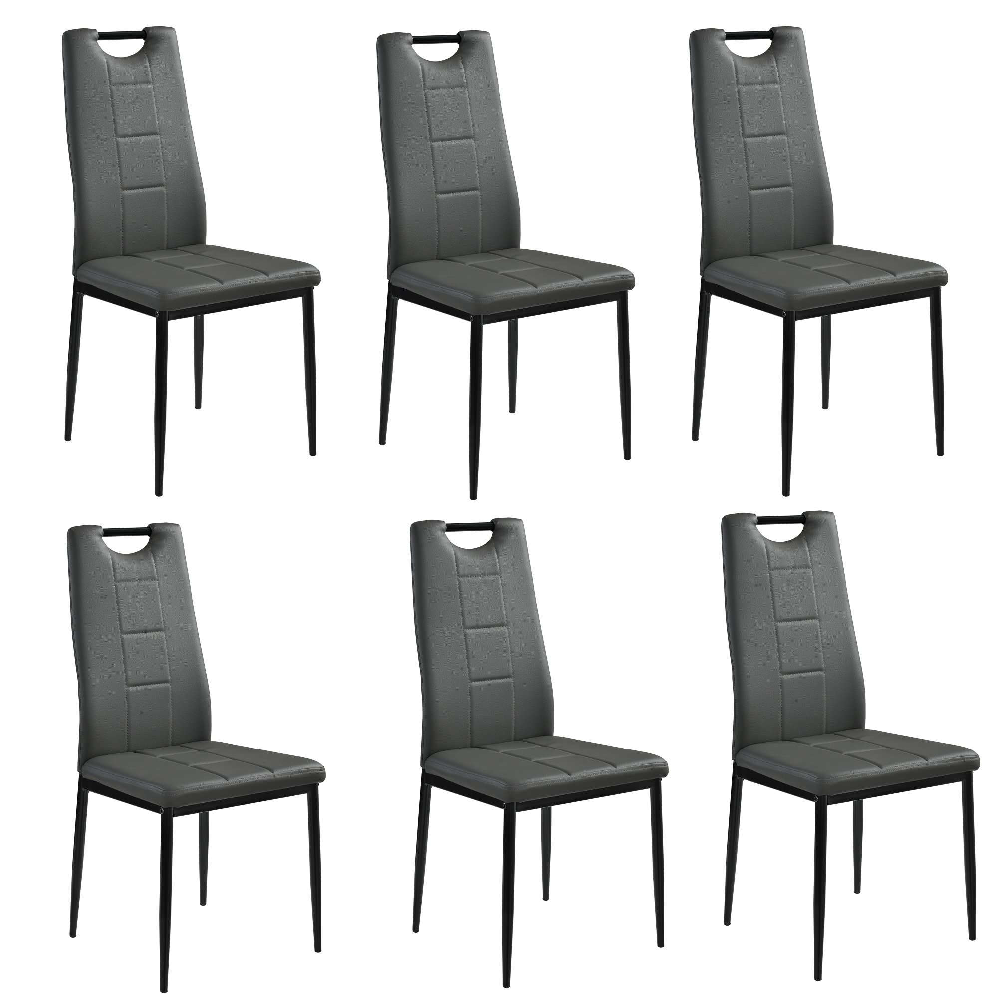 High Dining Room Chairs: [en.casa] 6 X Chairs Grey High Back Dining Room Faux