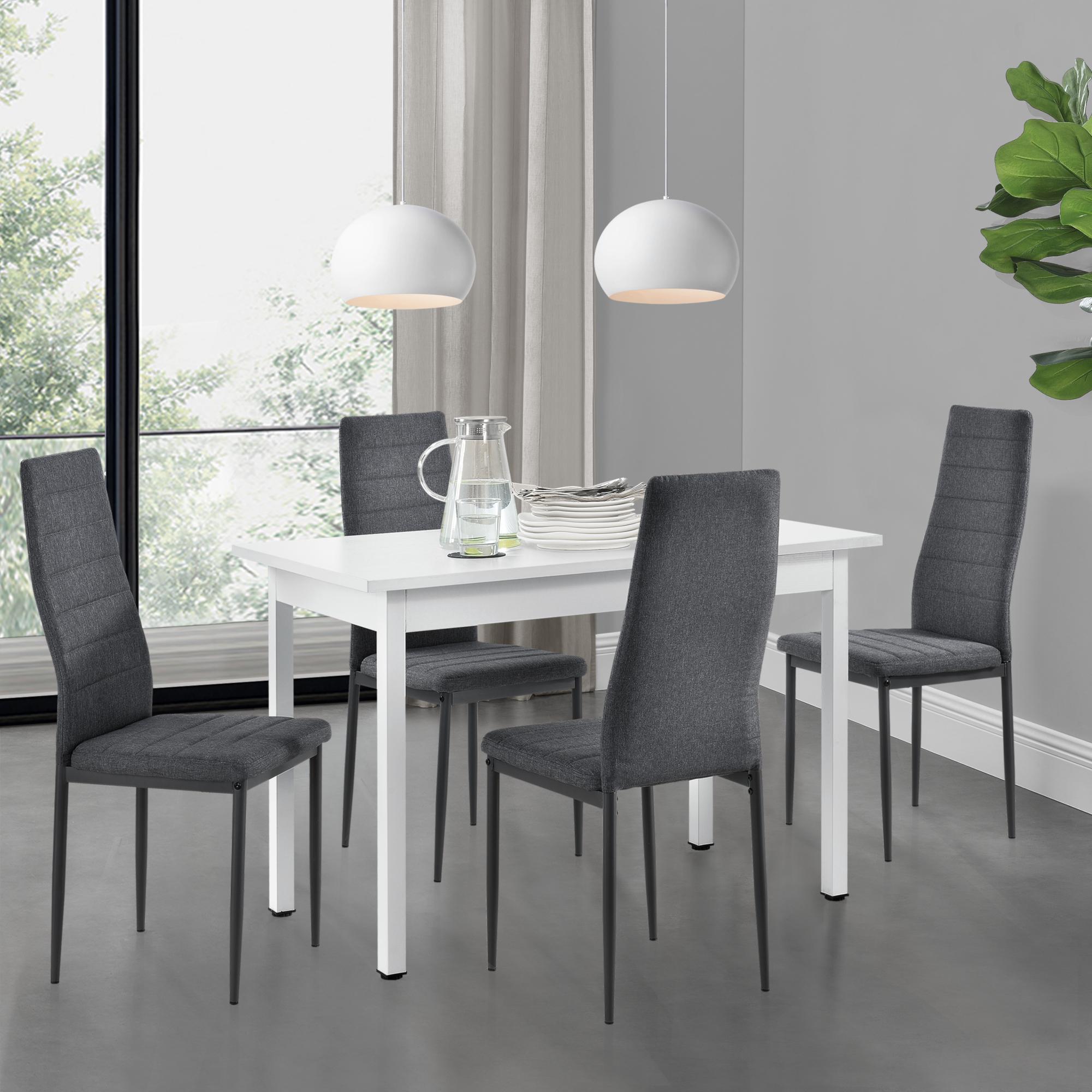 Esstisch 4 Stühle grau//schwarz 120x60cm Küchentisch Esszimmertisch