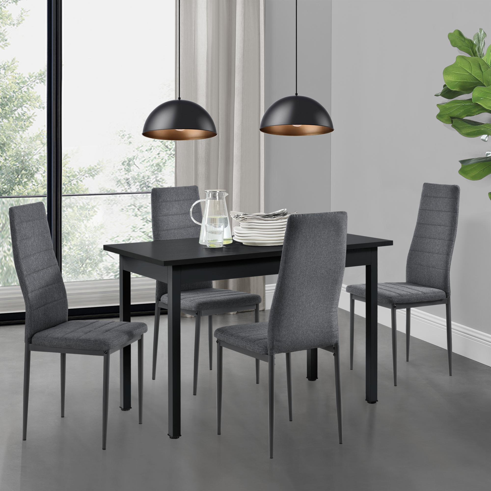 Detalles de [en.casa] Mesa de Comedor Minimalista 120cm x 60cm Negro Set de  4x Sillas diseño