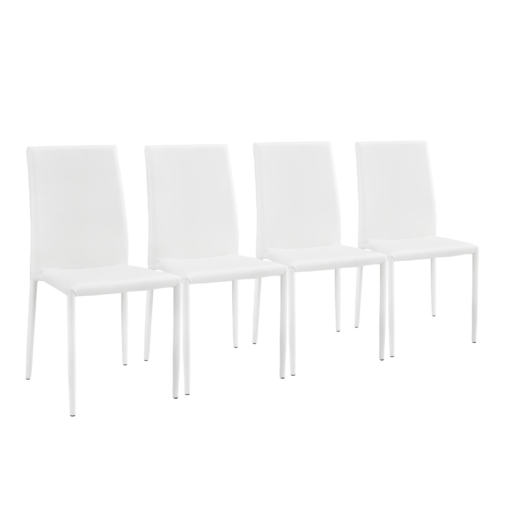 en.casa]® Set de 4 sillas de comedor blancas sillas cocina oficina ...