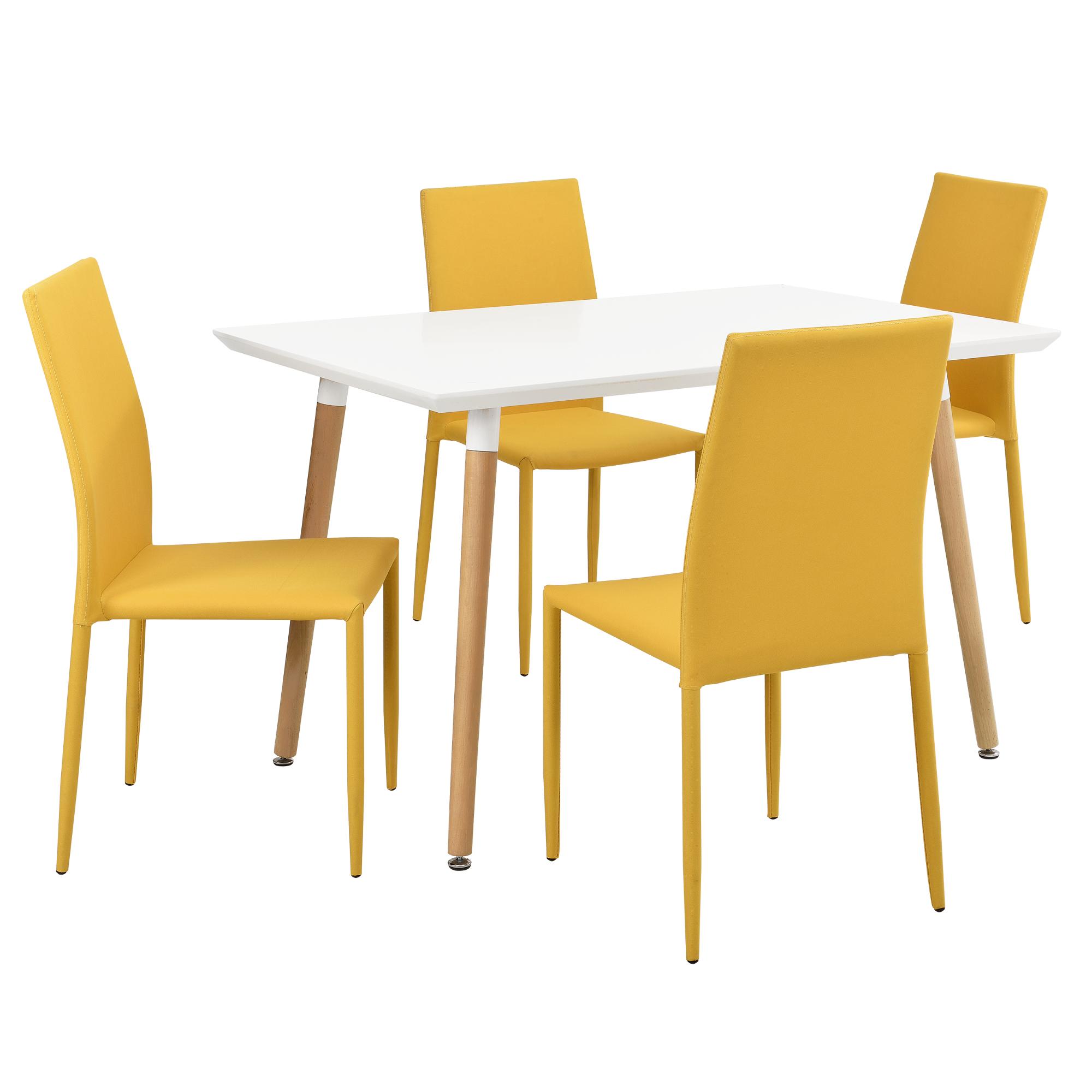 en.casa]® Esstisch mit 4 Stühlen senffarben 120x70cm Küchentisch ...
