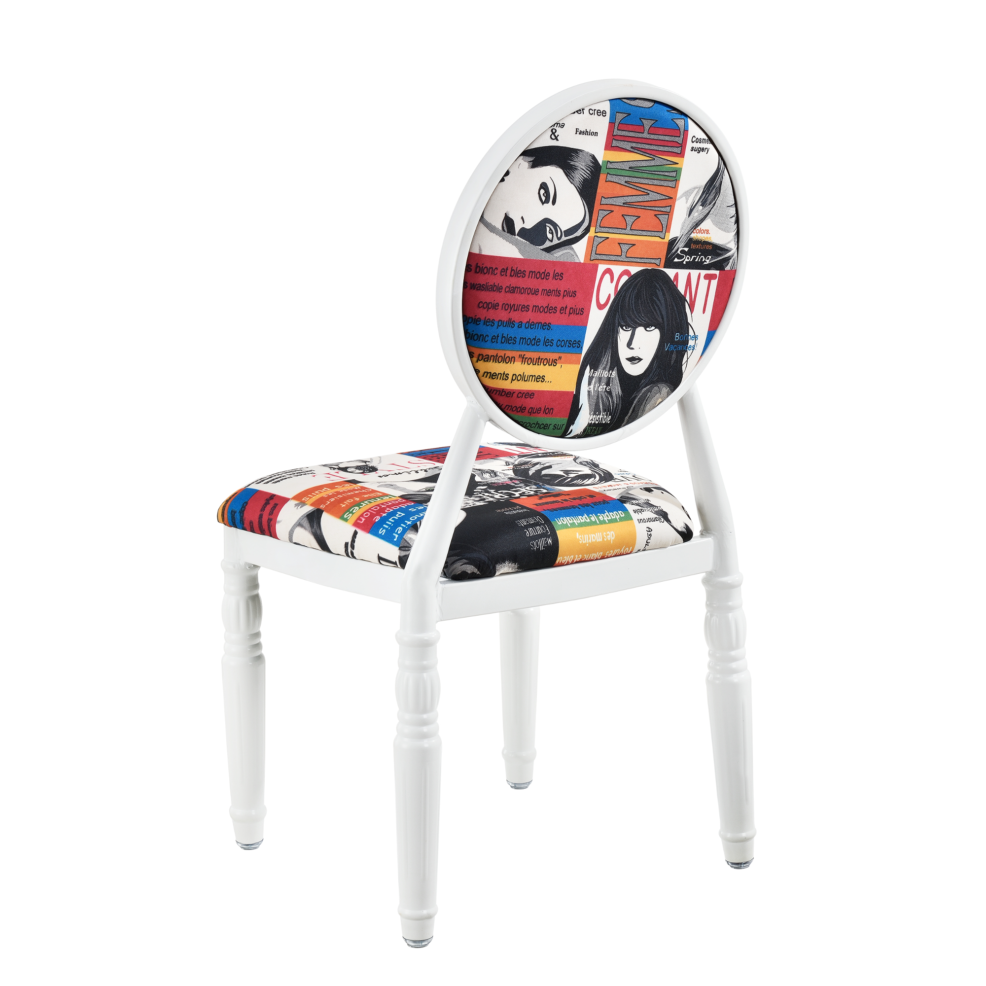 Upholstered chair set of 2 white patchwork for Design stuhl leisure