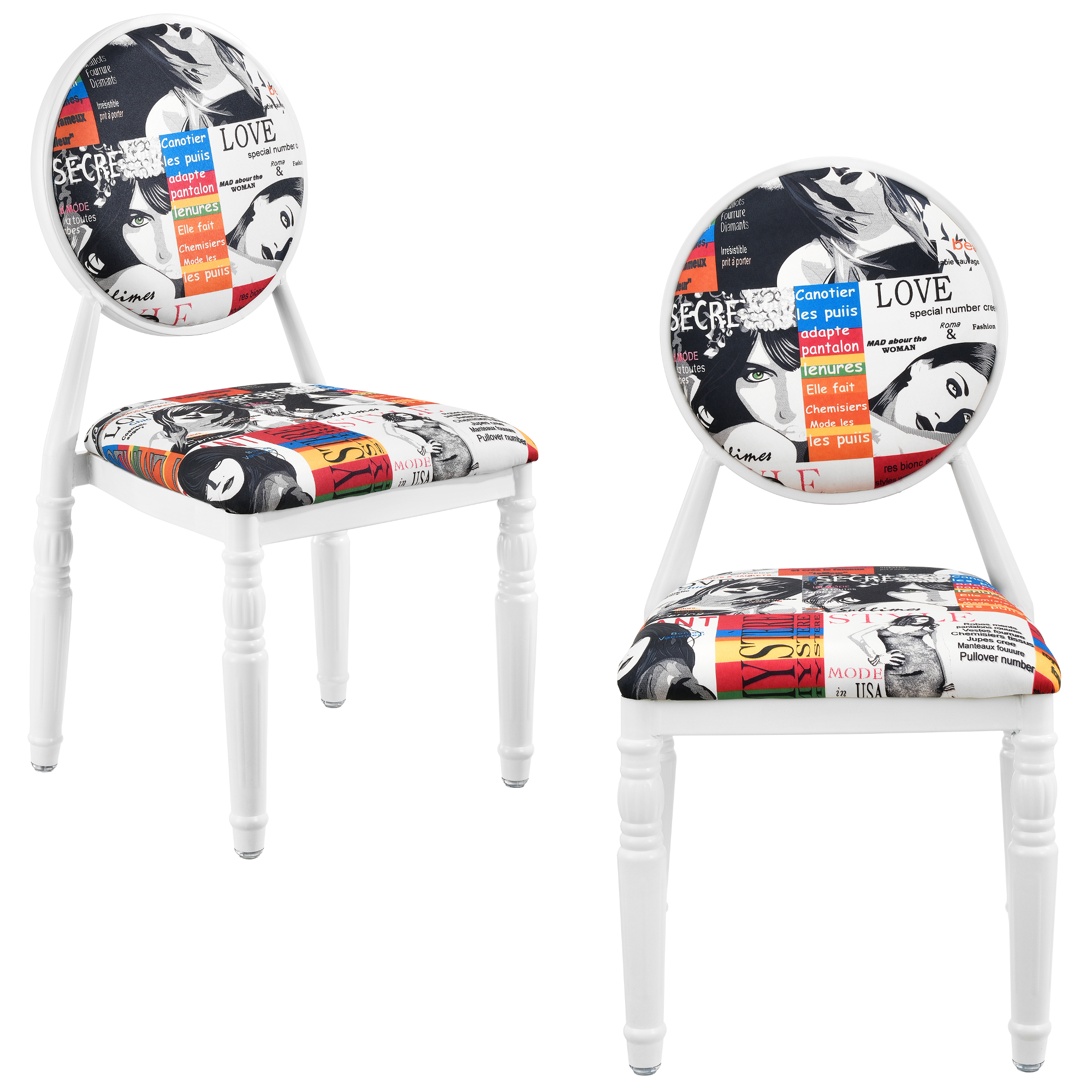 Upholstered chair set of 2 white patchwork for Design stuhl farbig