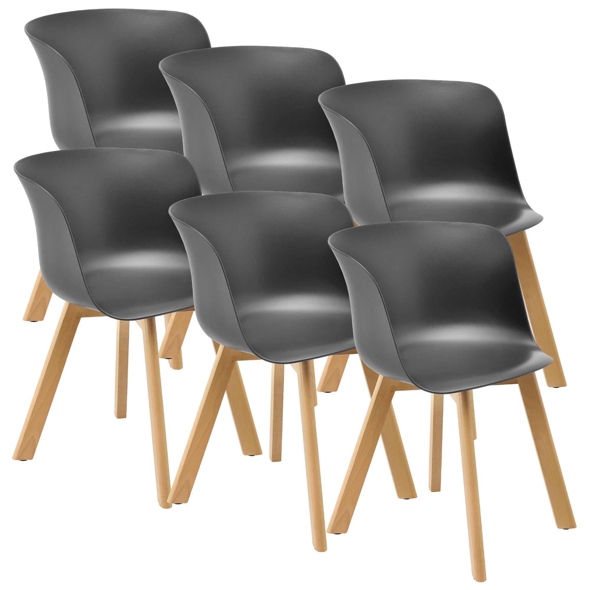 [en.casa] Esstisch Mit 6 Stühlen Bambus/grau 180x80