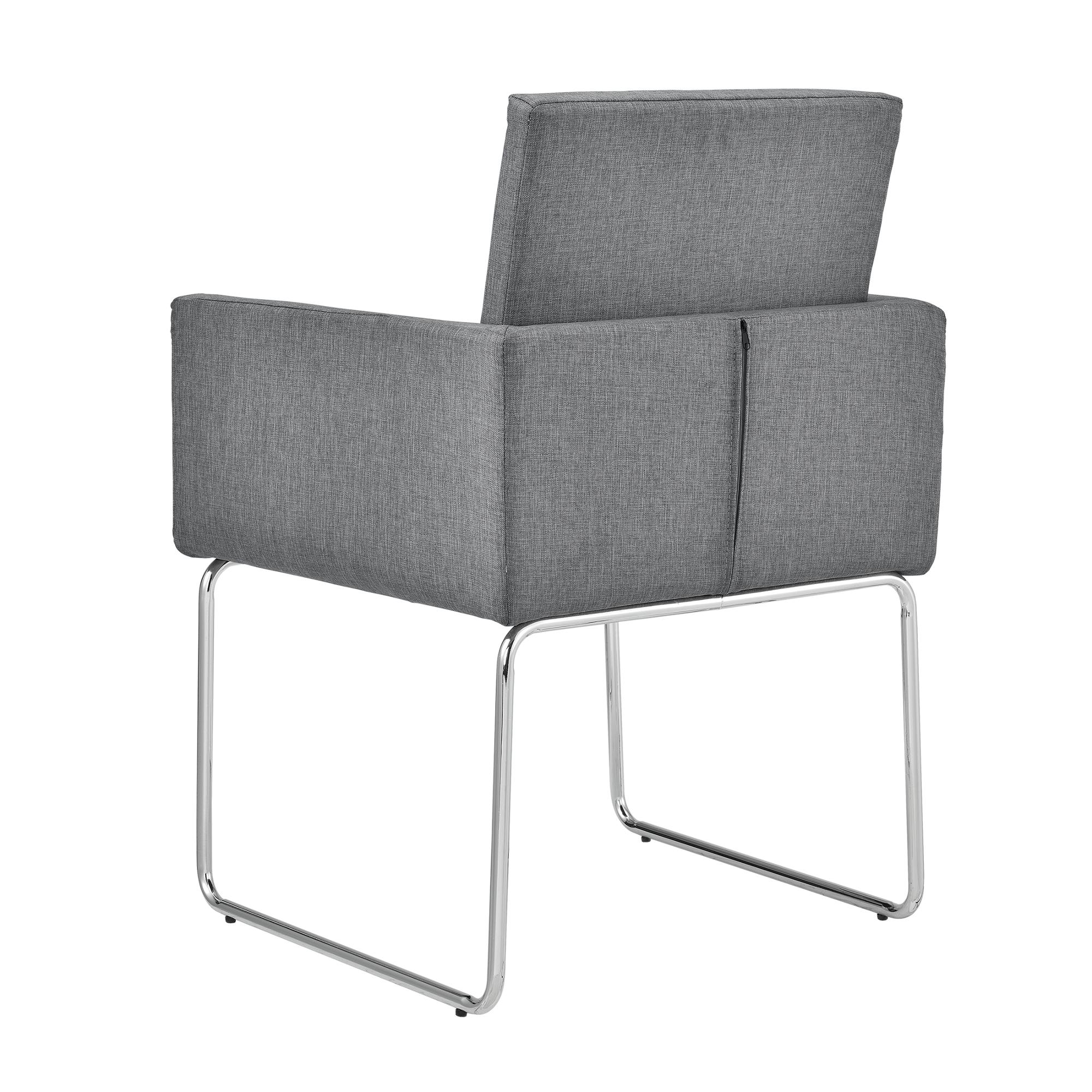 Set de 2 sillas de comedor gris oscuro tela for Sillas tapizadas con reposabrazos