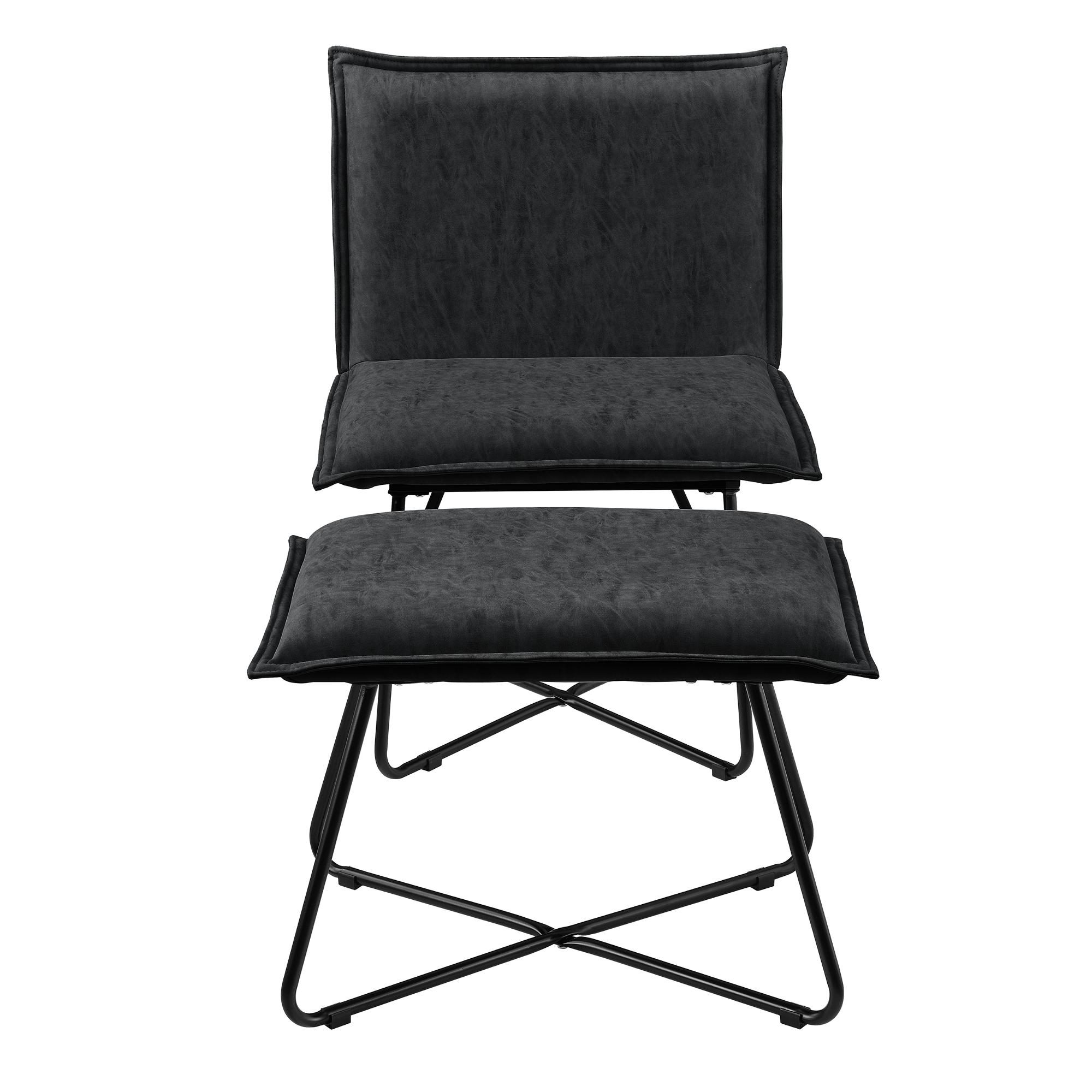 Sessel mit fu hocker schwarz wildlederimitat for Stuhl hocker