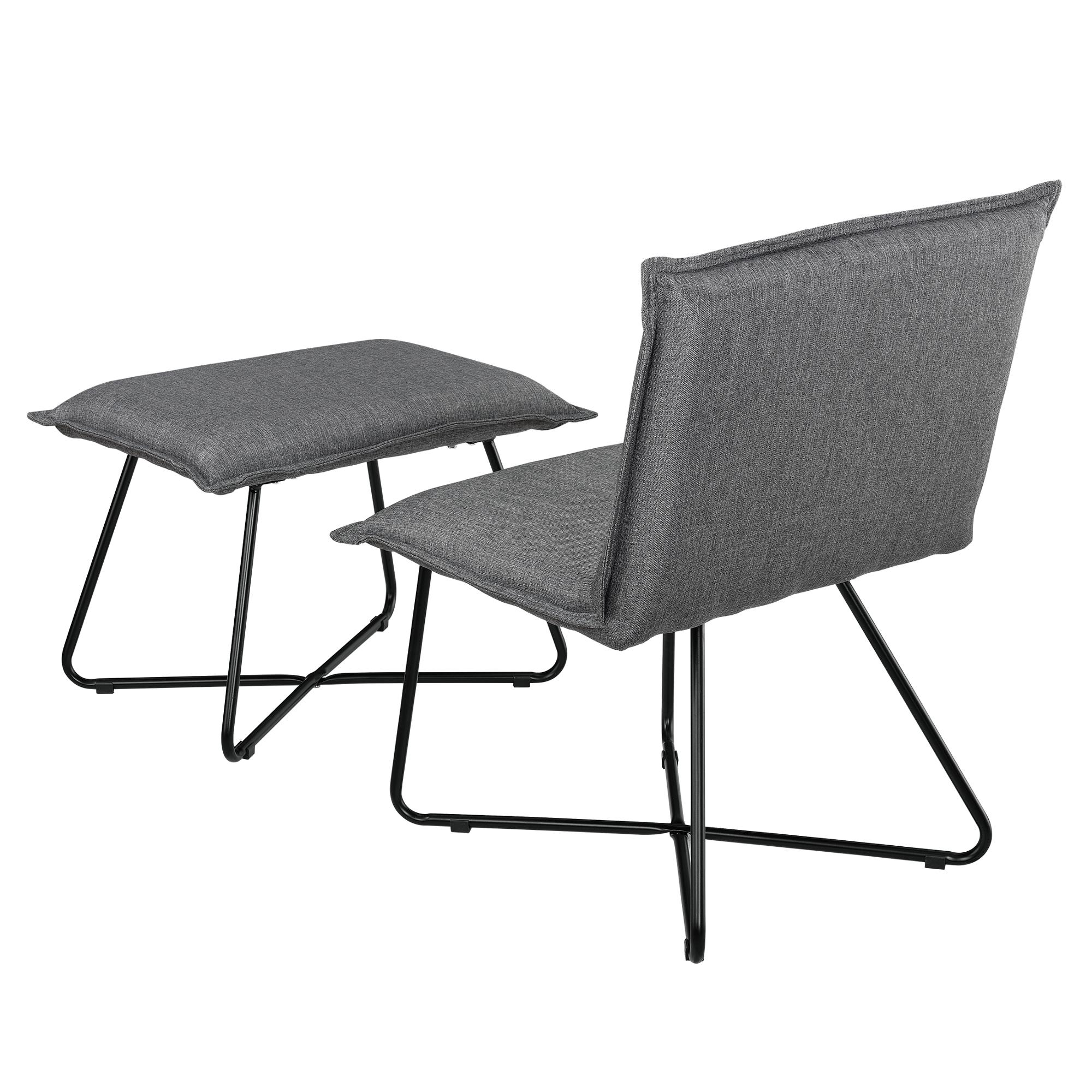 sessel mit fu hocker dunkelgrau textil hocker. Black Bedroom Furniture Sets. Home Design Ideas