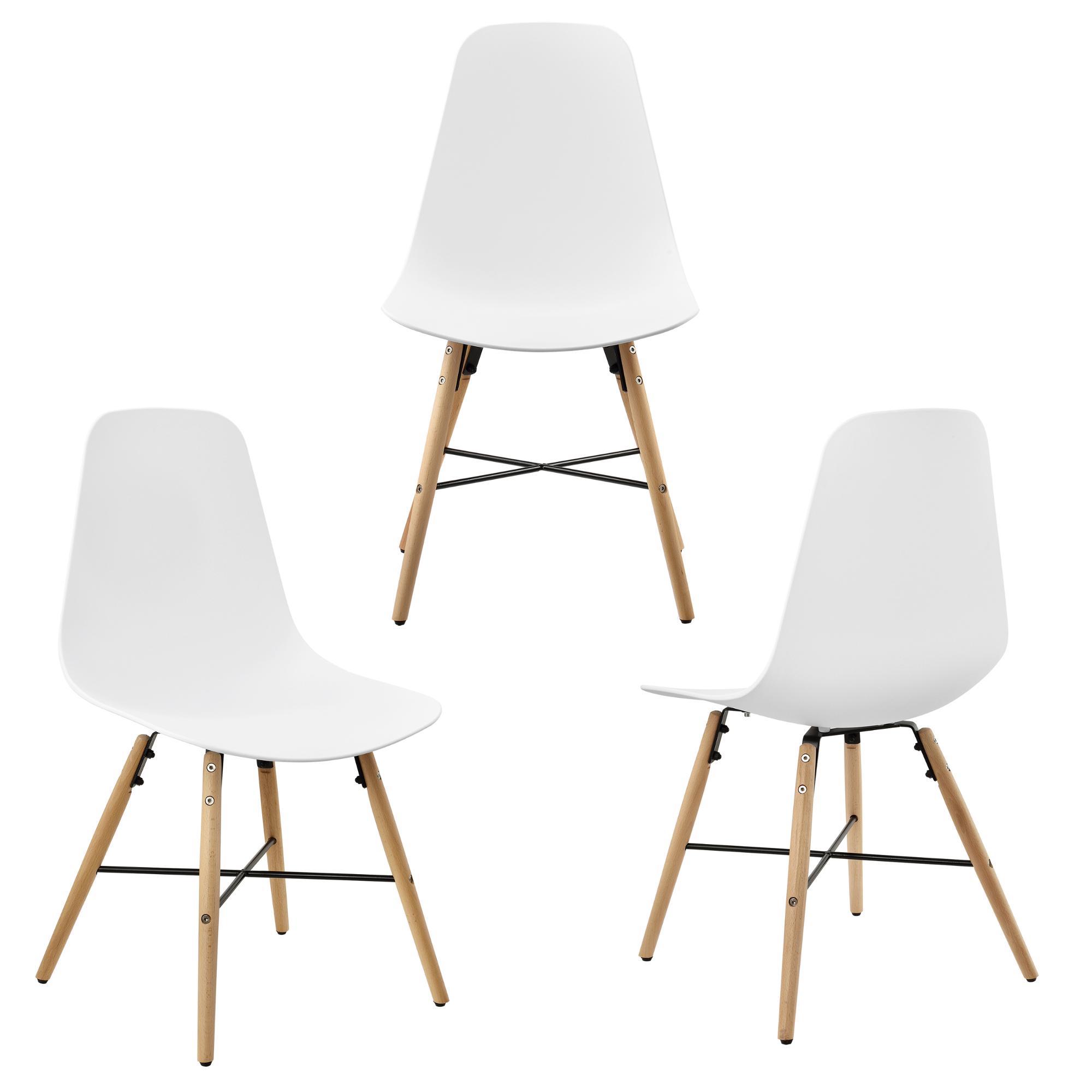 Table de salle manger blanc mit 3 chaises for Table salle a manger 80 cm largeur