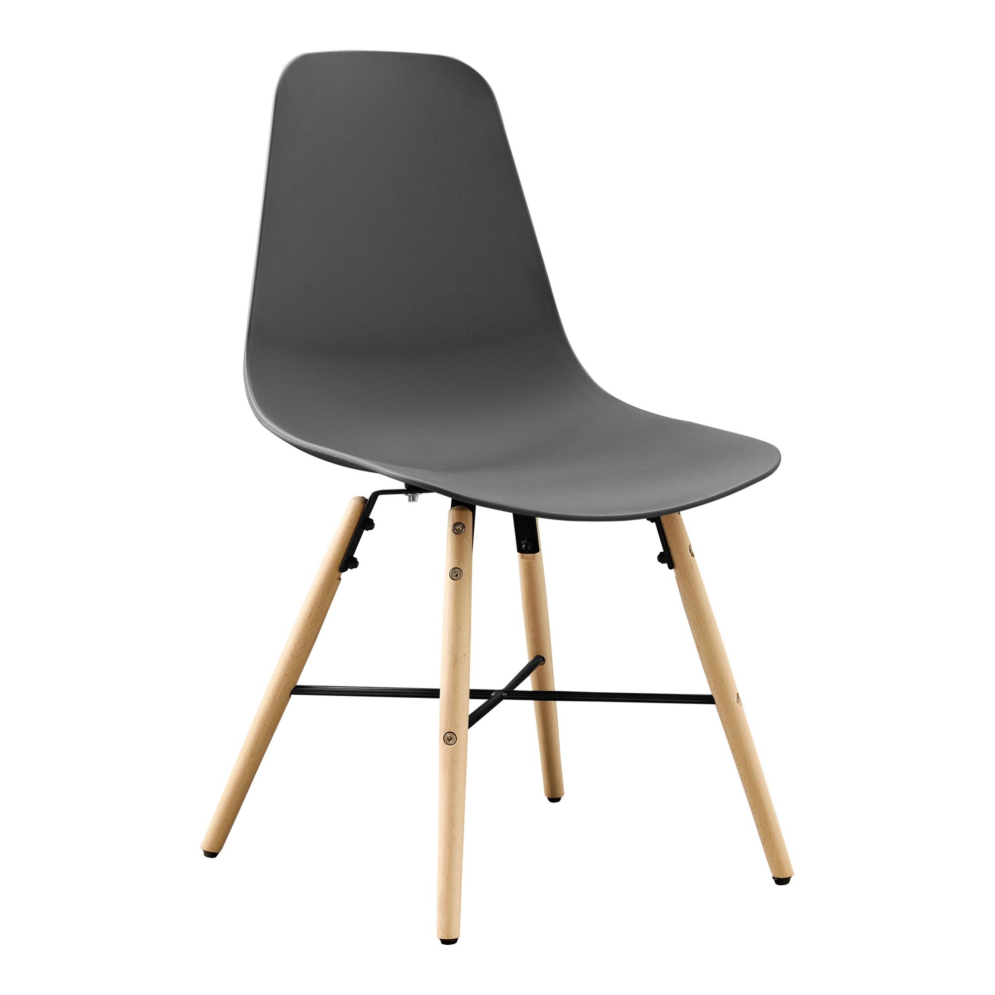 en.casa] Set de 6 sillas de comedor gris plástico diseño retro ...