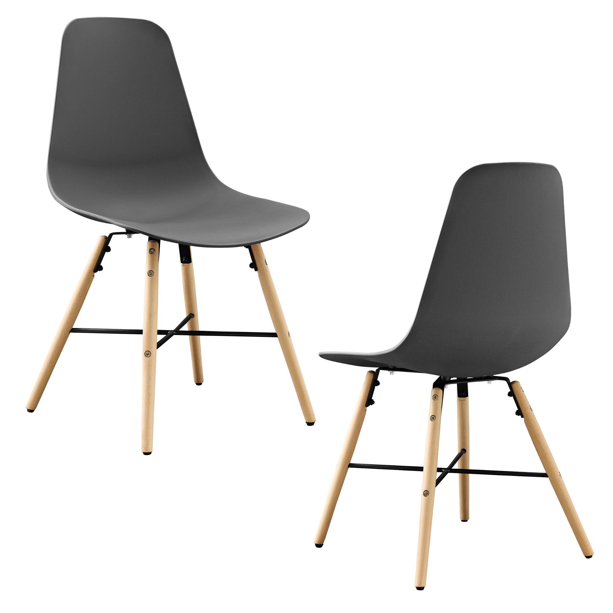 Jeu de 2 chaise salle manger gris plastique for Chaise de salle a manger en plastique